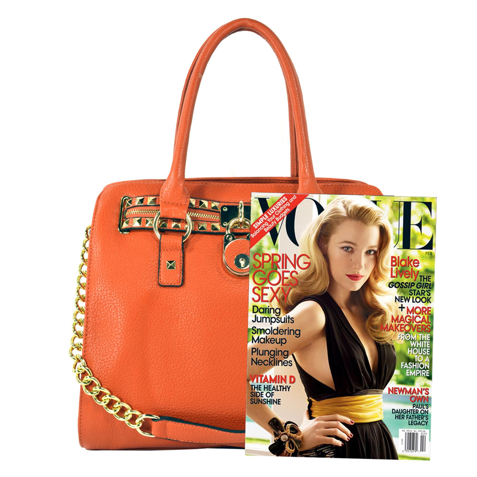 HALEY Orange Bowler Style Handbag Size