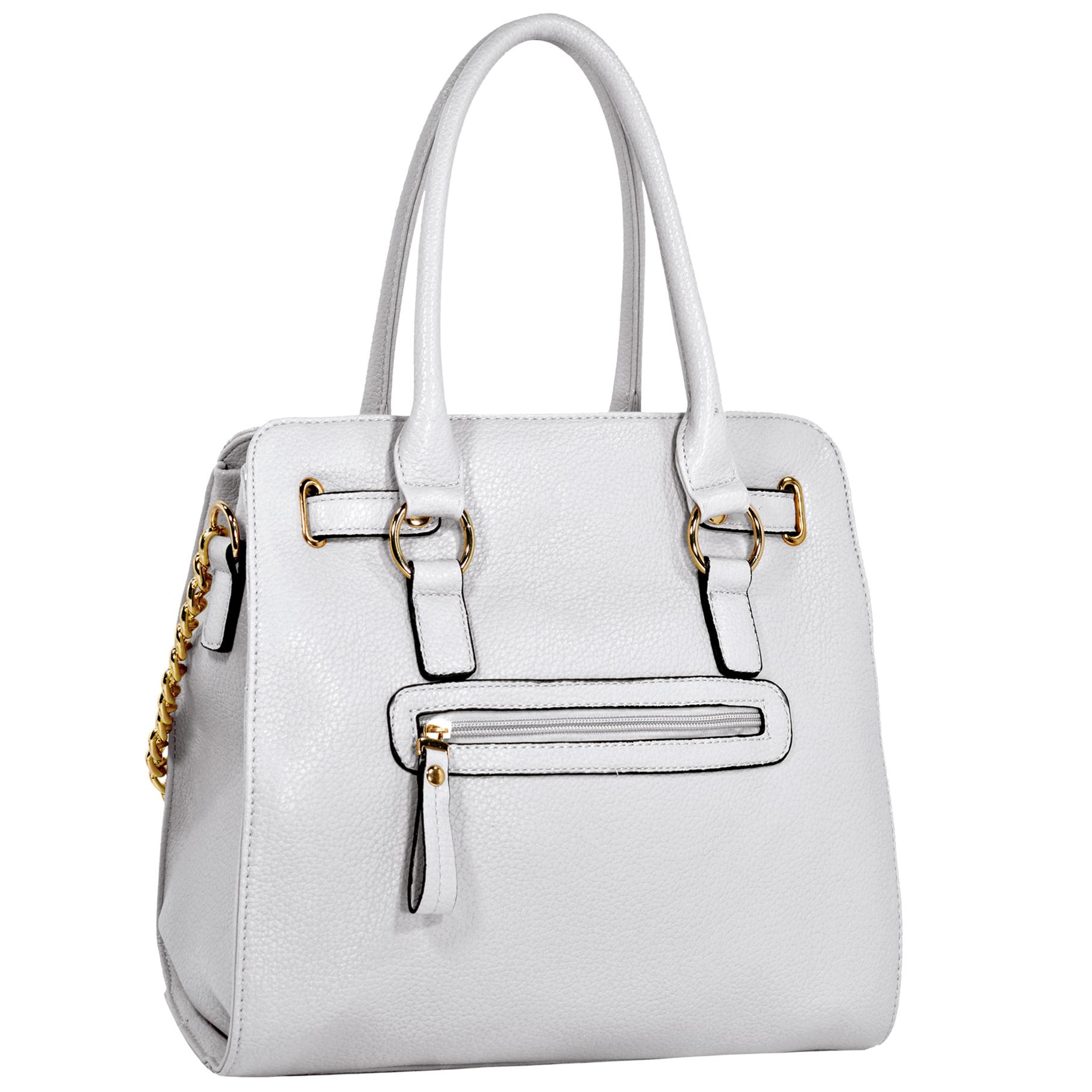 HALEY White Bowler Style Handbag Back
