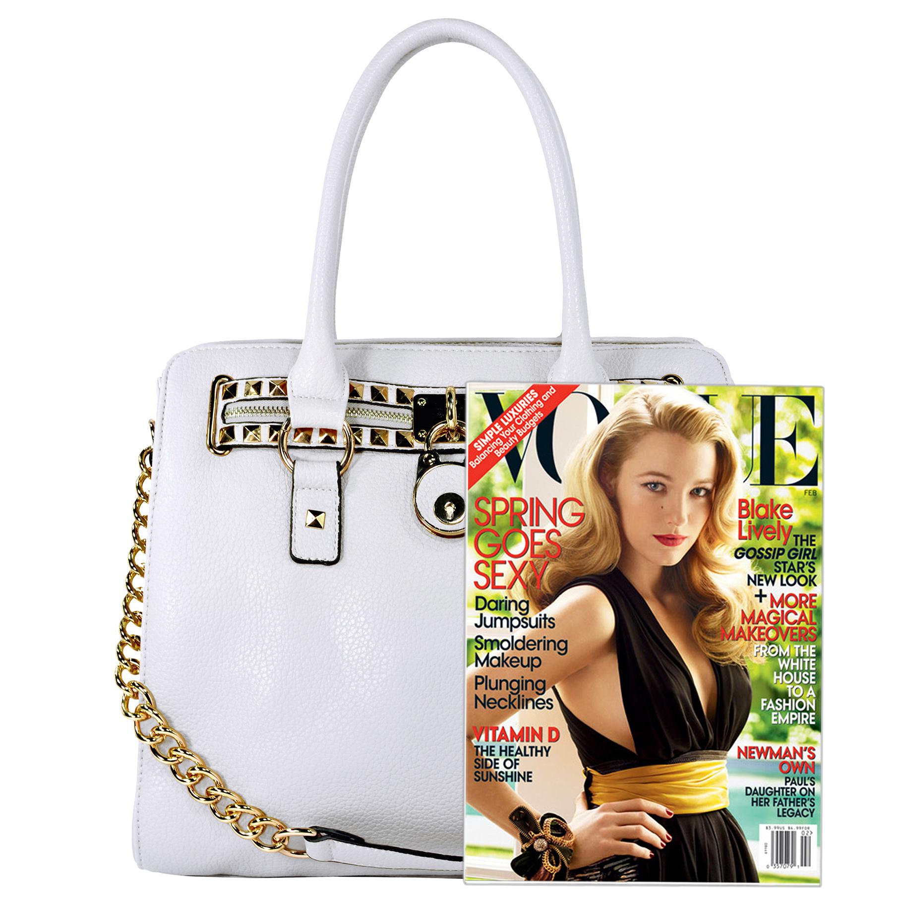 HALEY White Bowler Style Handbag Size