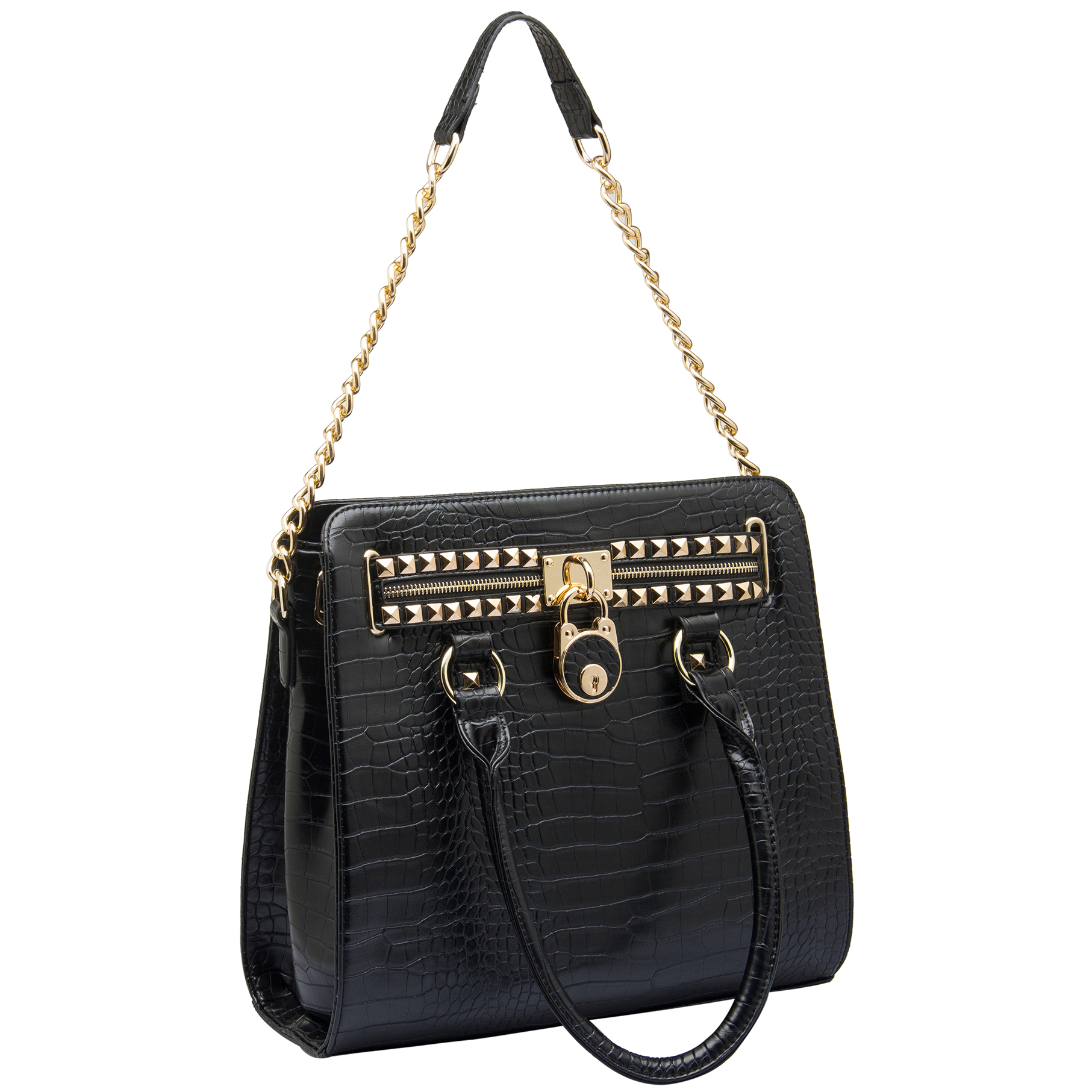 HALEY Black Crocodile Bowler Style Handbag Handle