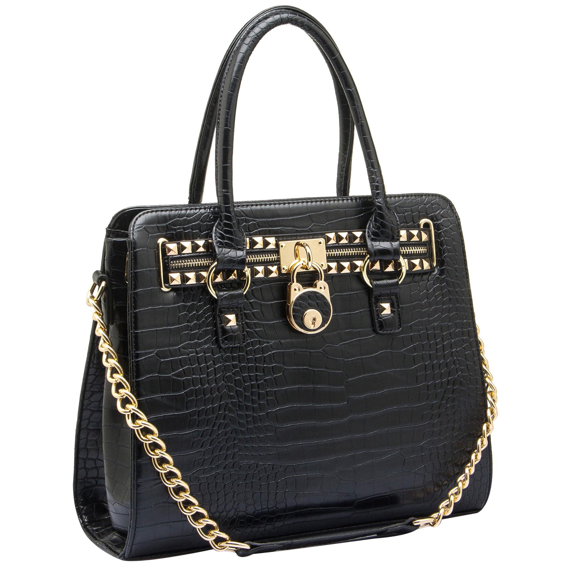 HALEY Black Crocodile Bowler Style Handbag Main