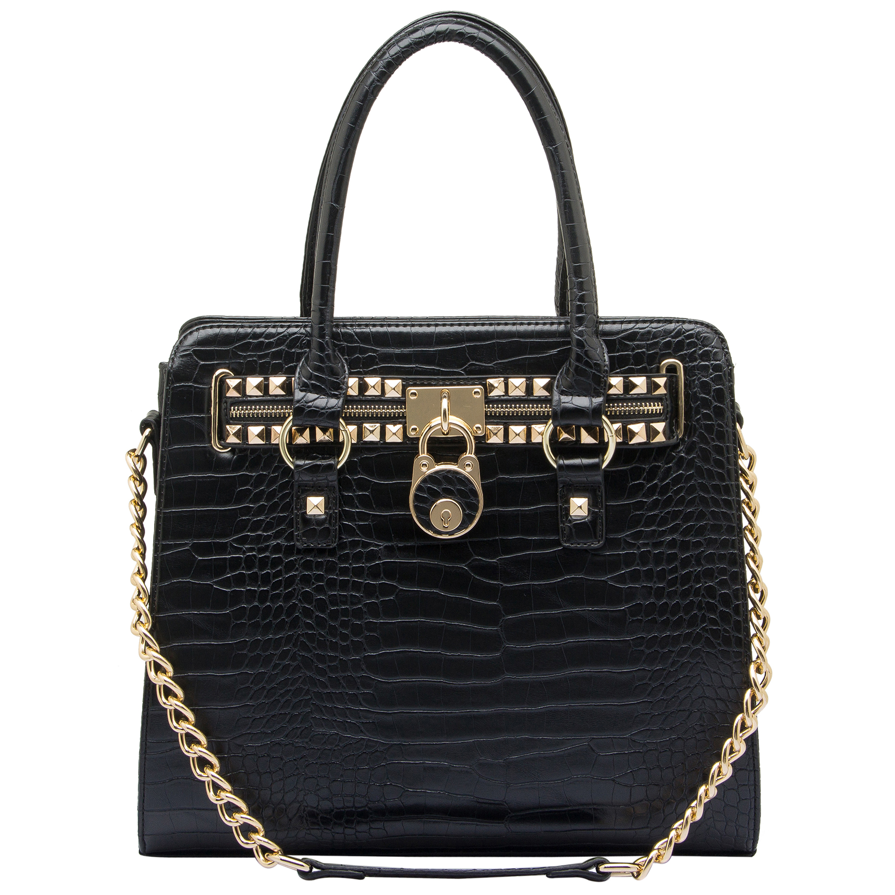 HALEY Black Crocodile Bowler Style Handbag Front