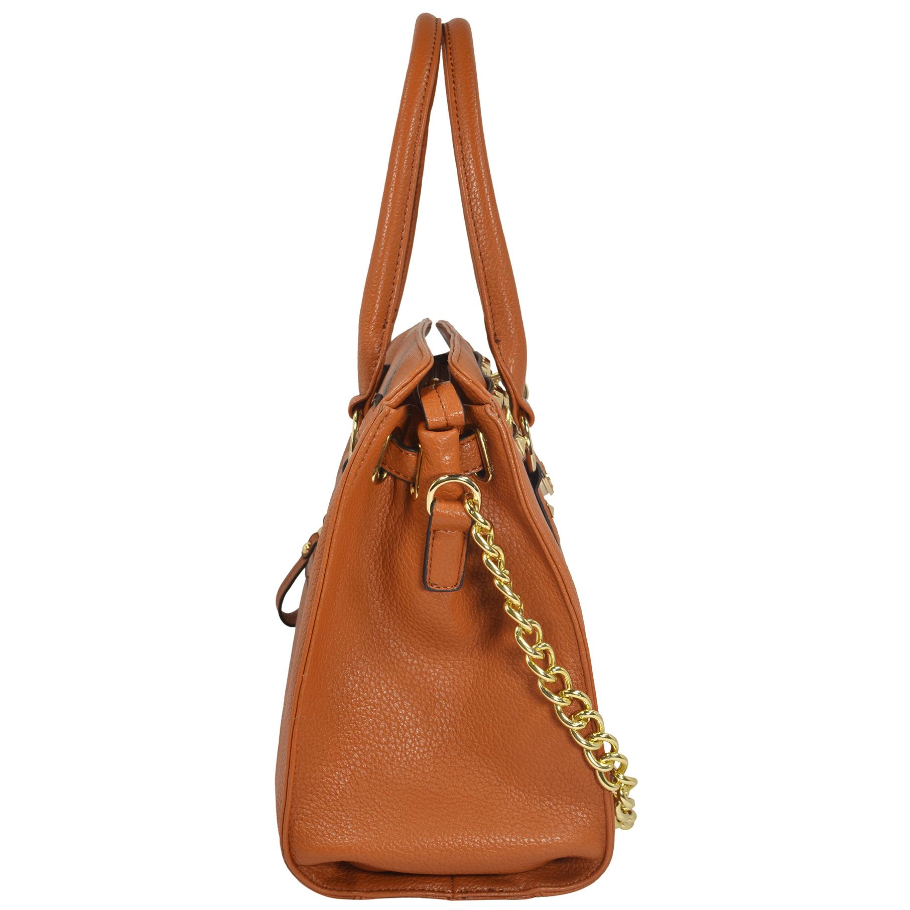 HALEY Brown Bowler Style Handbag Side