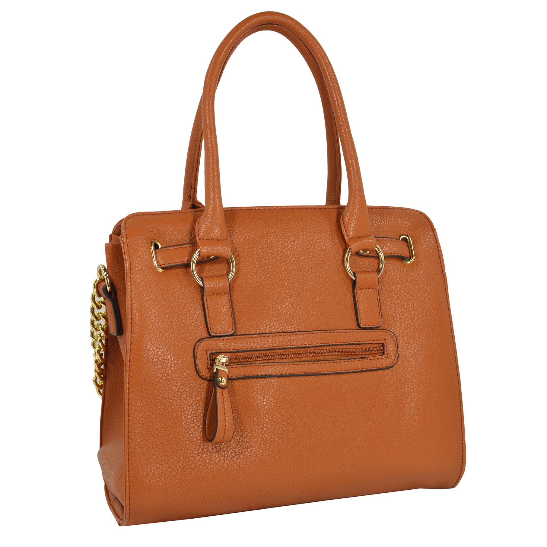 HALEY Brown Bowler Style Handbag Back