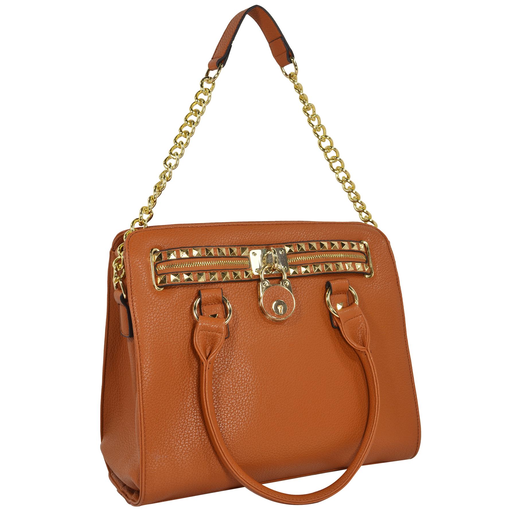 HALEY Brown Bowler Style Handbag handle