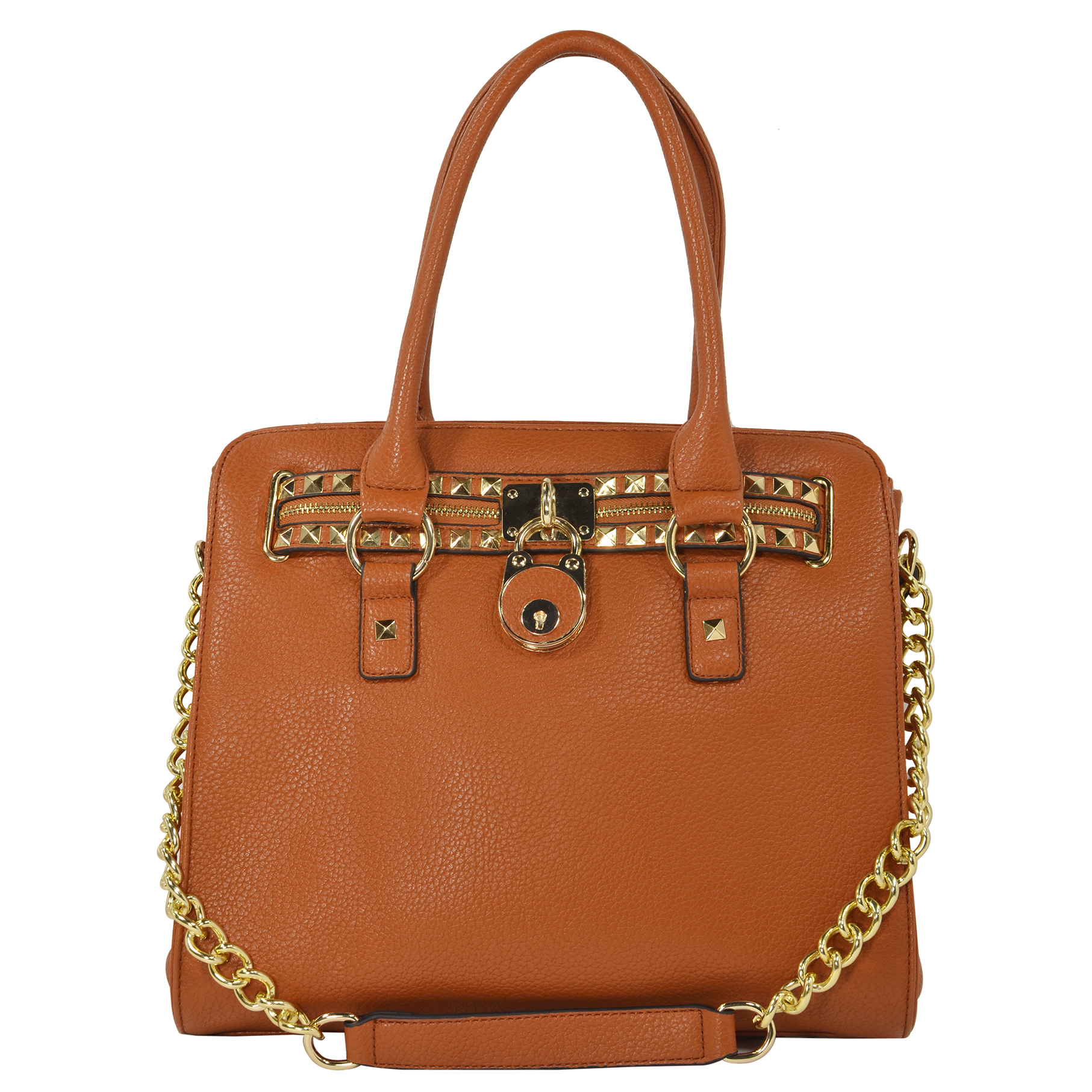 HALEY Brown Bowler Style Handbag Front