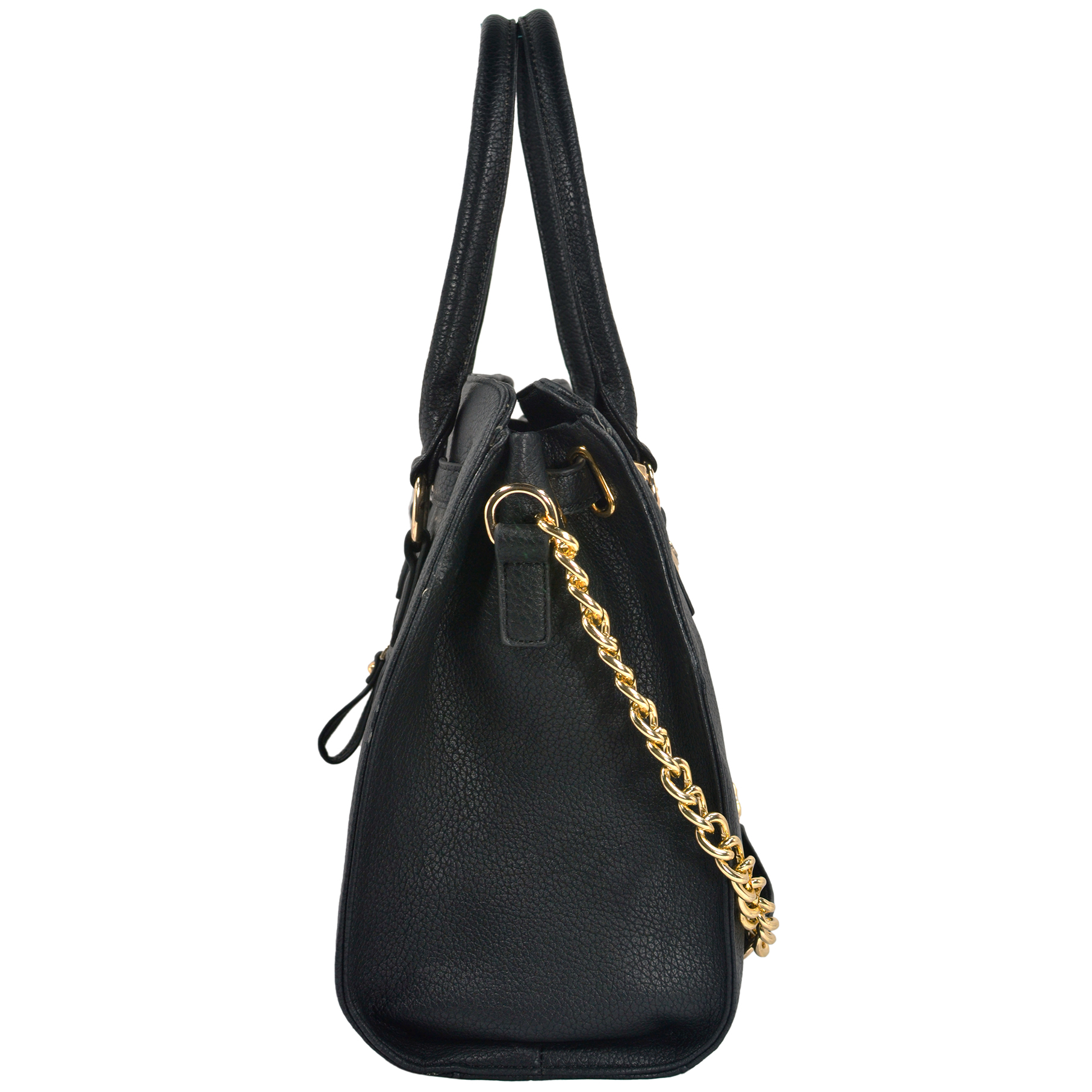 HALEY Black Bowler Style Handbag Side