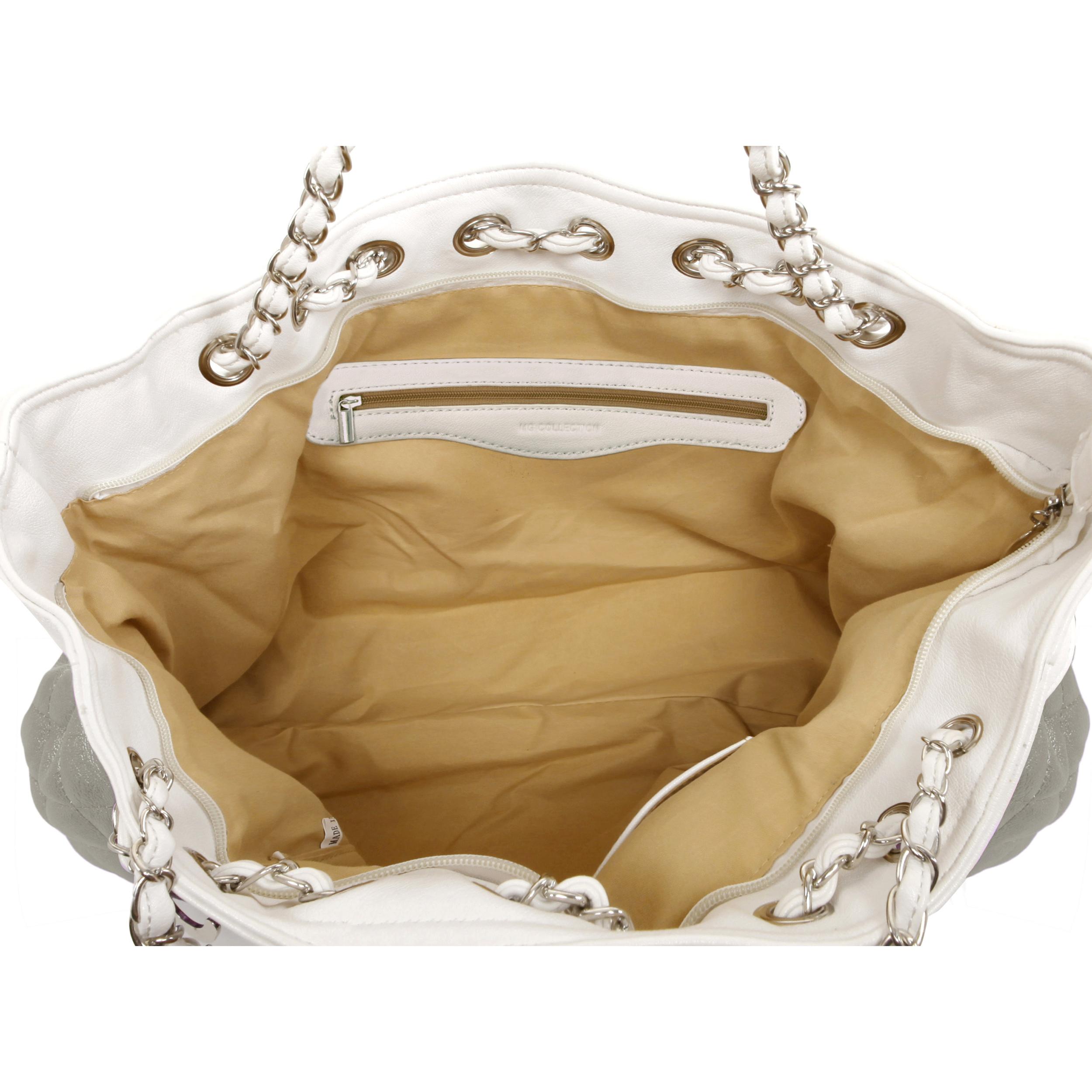 CAMRYN Grey Shoulder Tote Handbag Interior