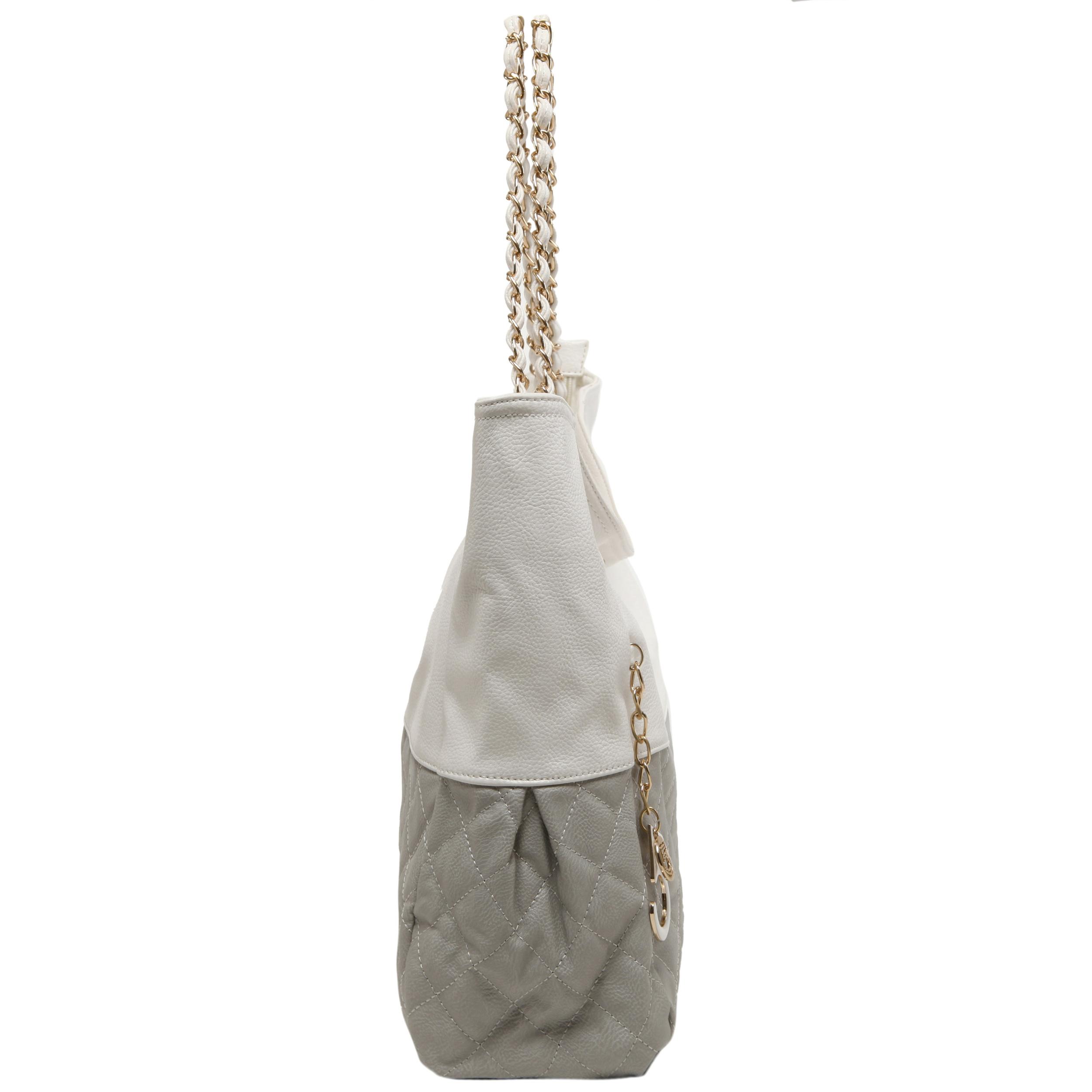 CAMRYN Grey Shoulder Tote Handbag Side
