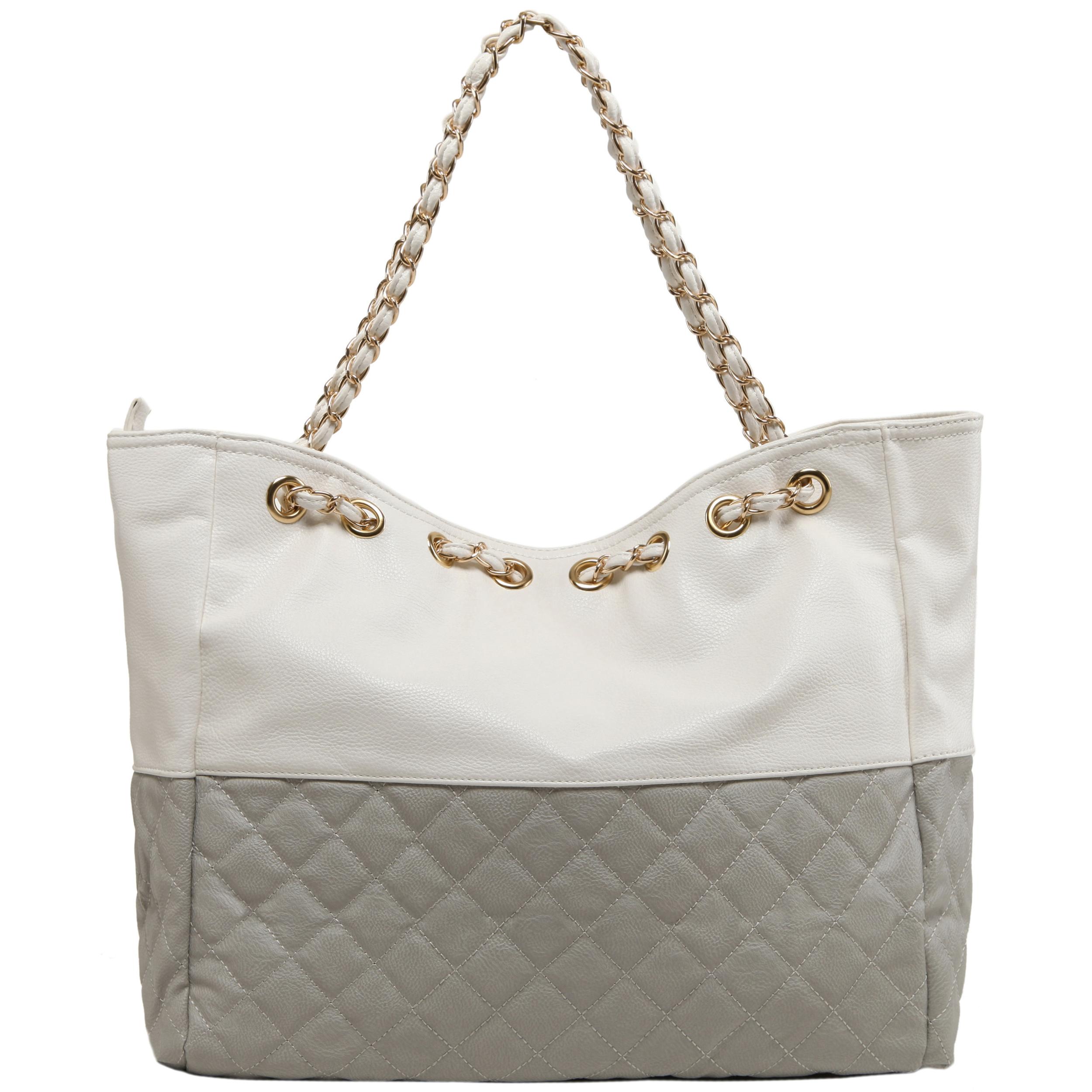 CAMRYN Grey Shoulder Tote Handbag Back
