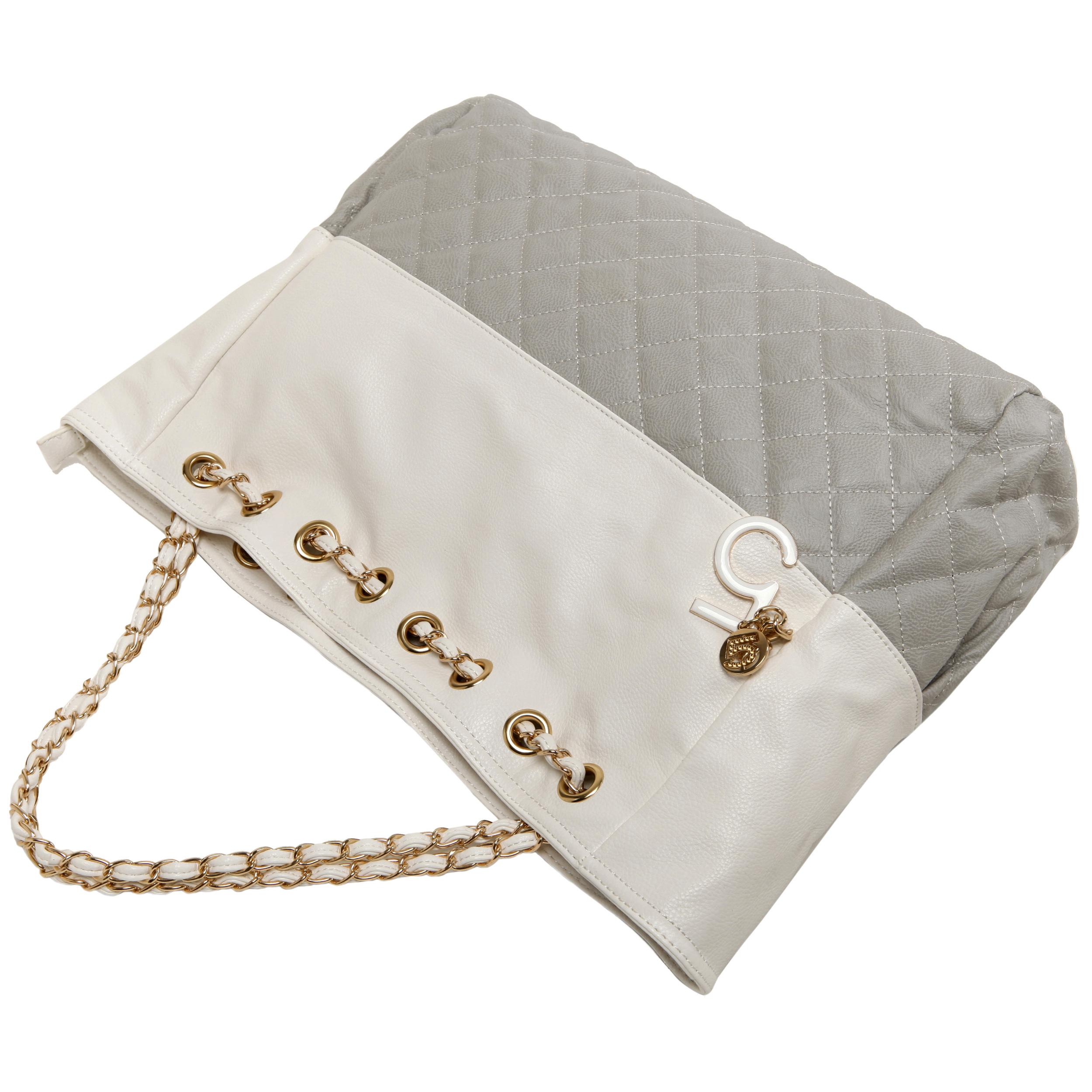 CAMRYN Grey Shoulder Tote Handbag handle