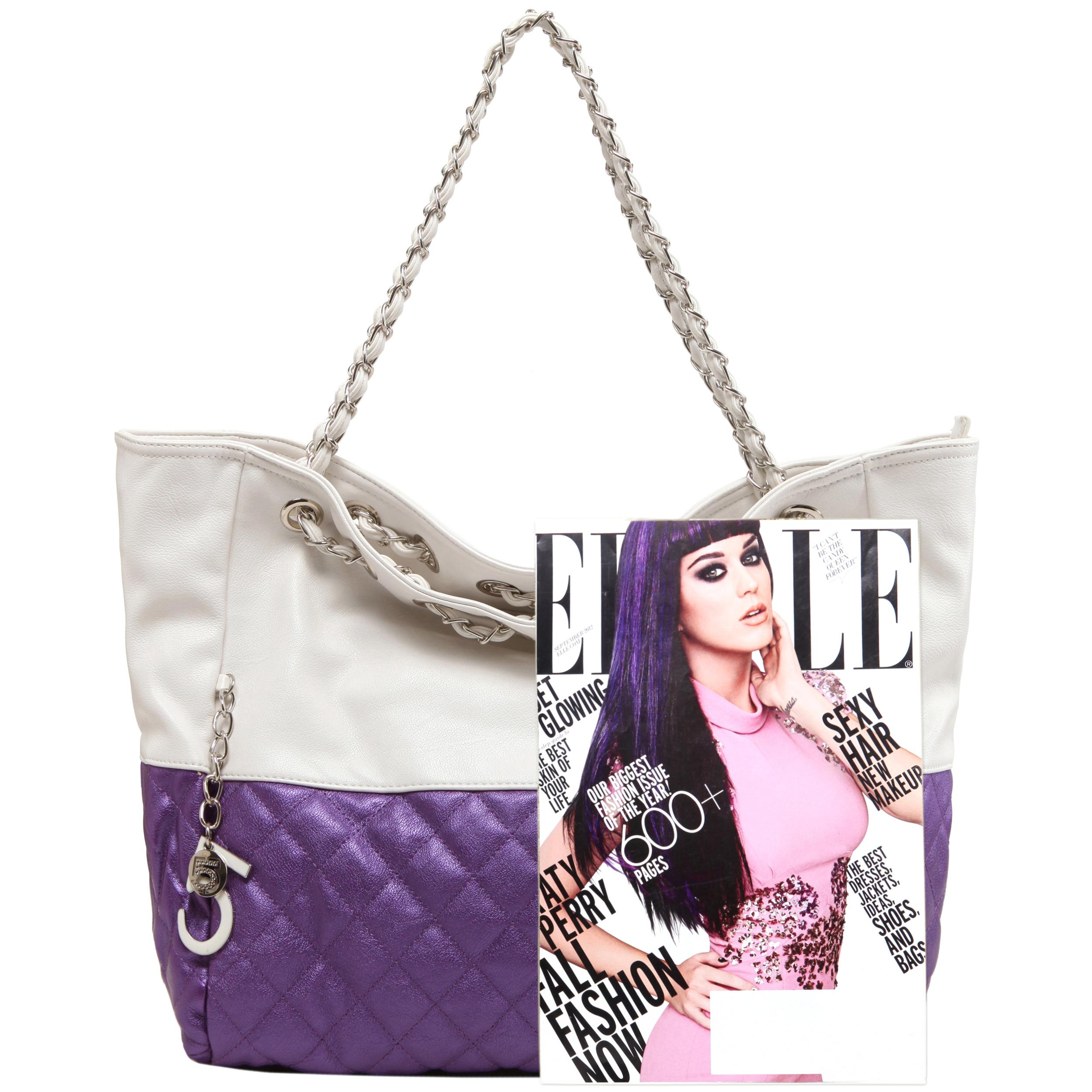 CAMRYN Purple Shoulder Weekender Tote handbag size