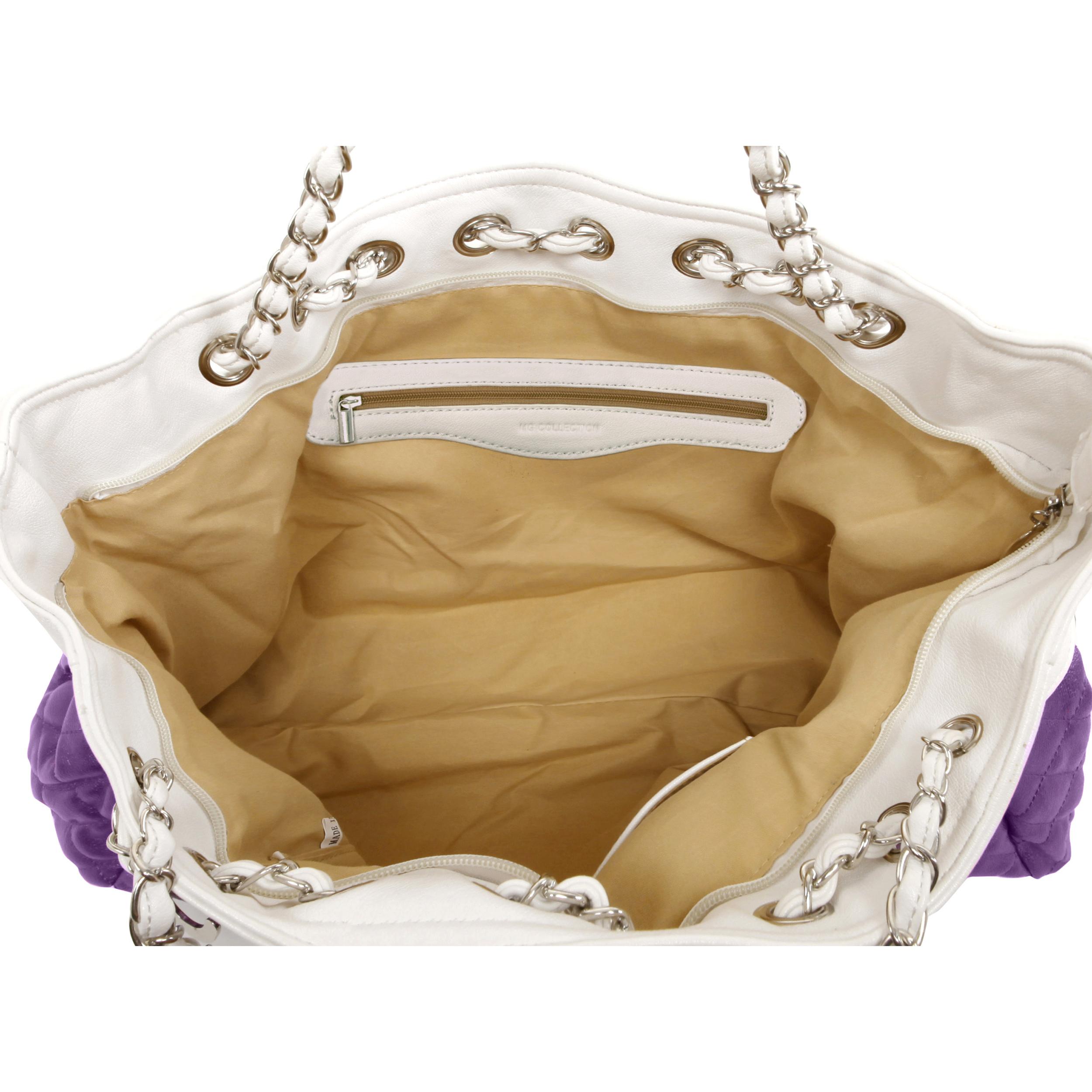 CAMRYN Purple Shoulder Weekender Tote handbag interior