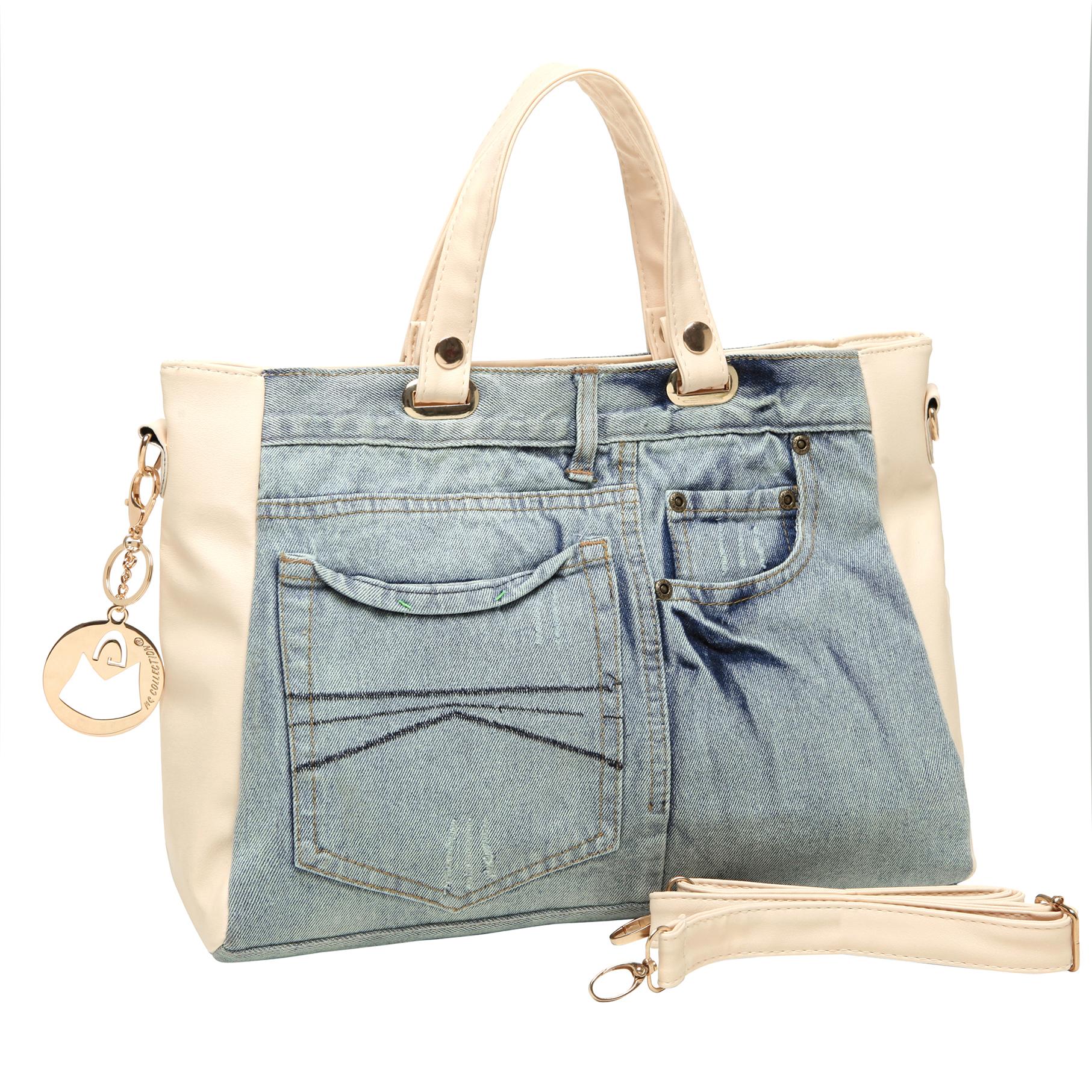 ASTA Beige & Blue Denim Jeans Handbag main