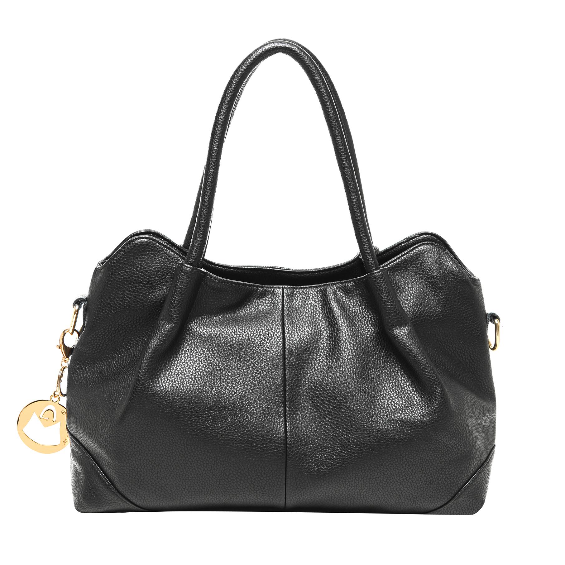 ASSA Black Classic Top Handle Shoulder Bag Handbag front