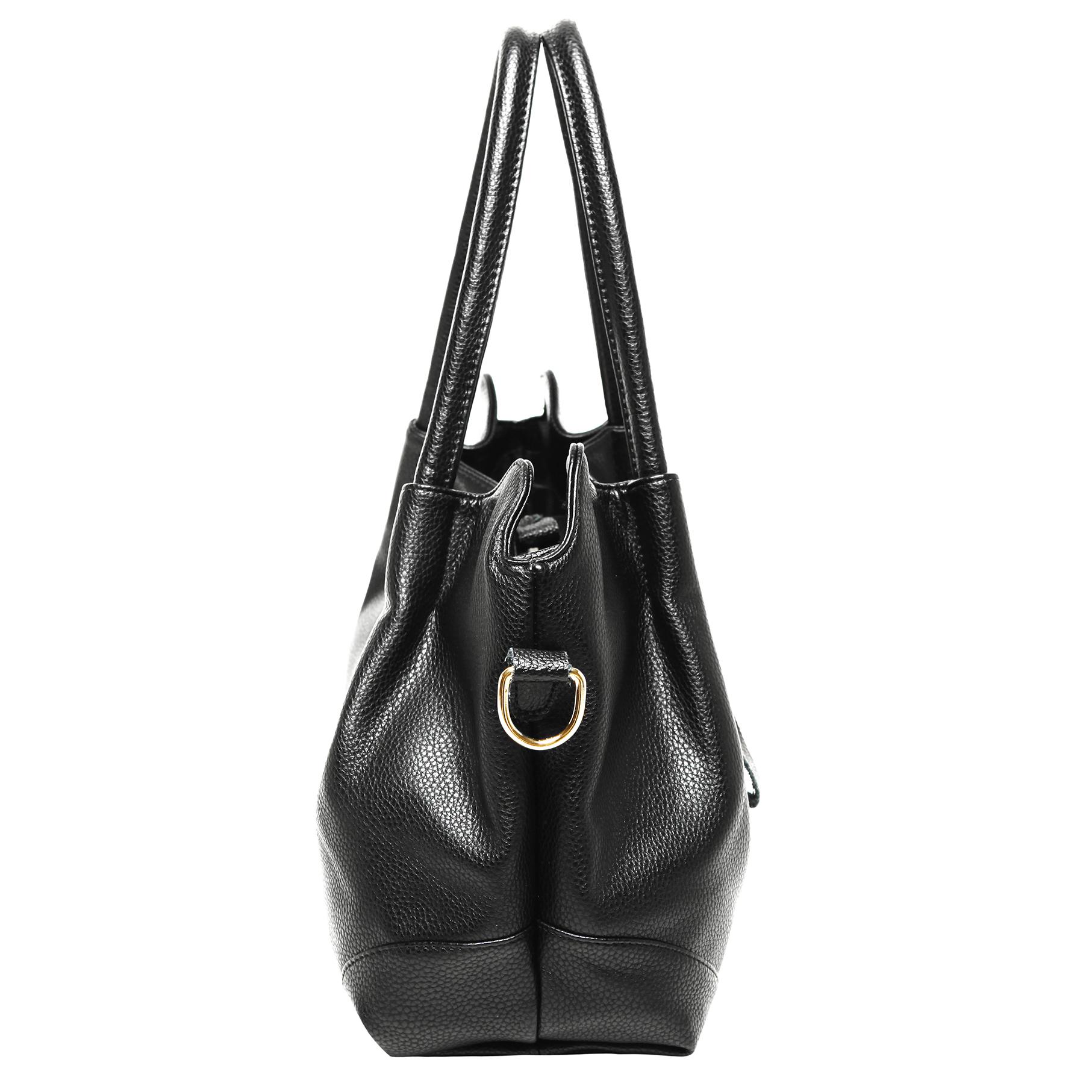 ASSA Black Classic Top Handle Shoulder Bag Handbag side