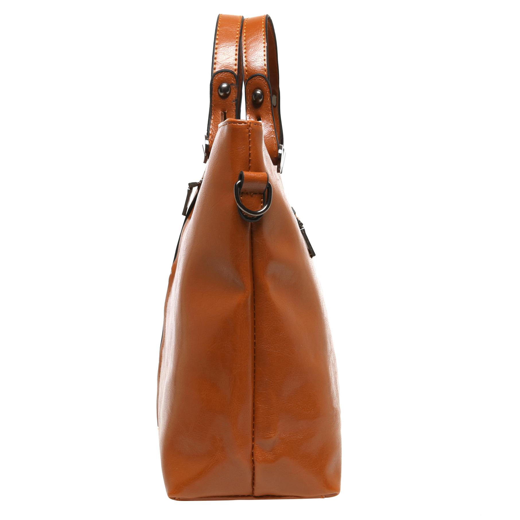 ALDIS Brown Top Handle Office Tote Handbag side
