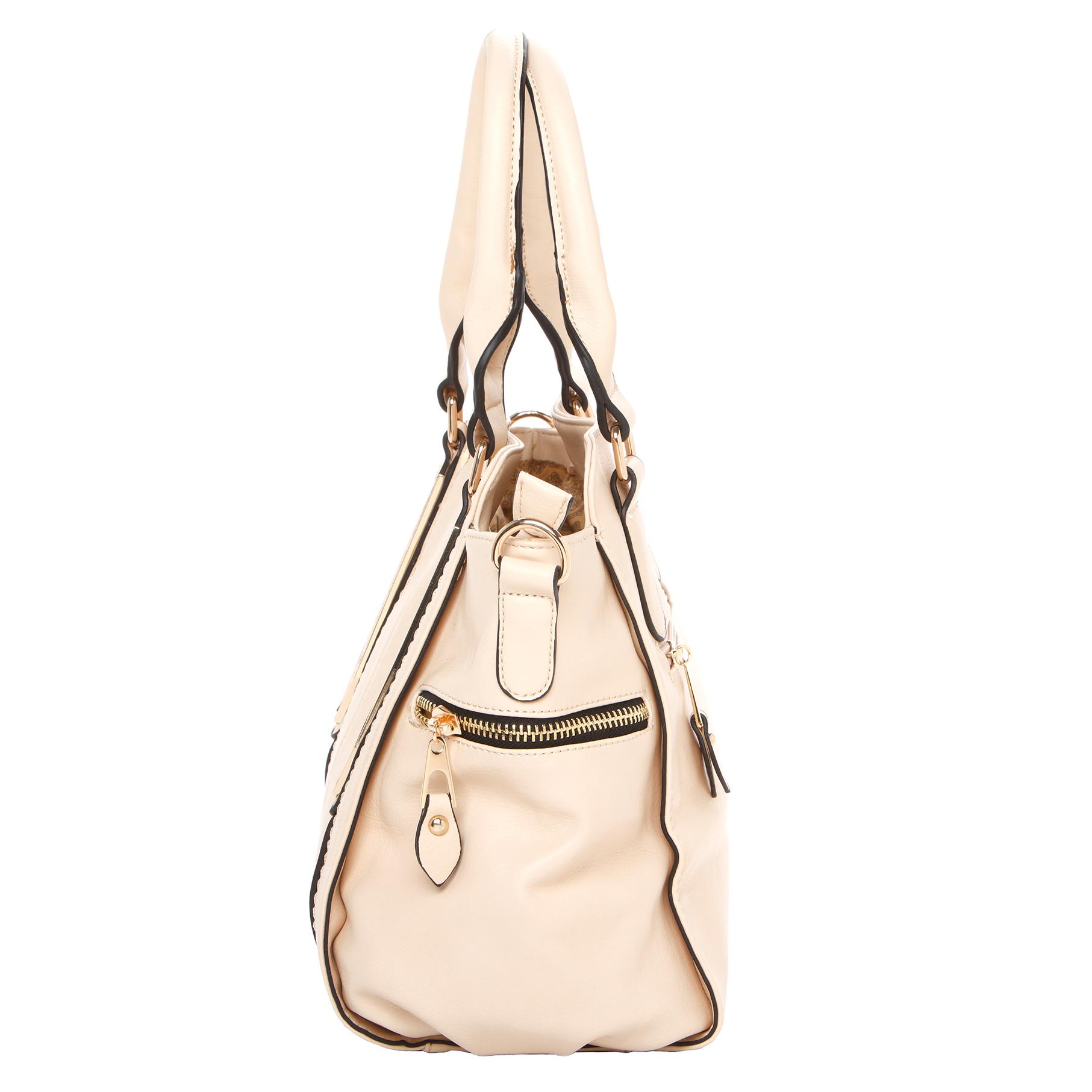 NORI Beige Top Handle Office Tote Style Satchel Handbag side