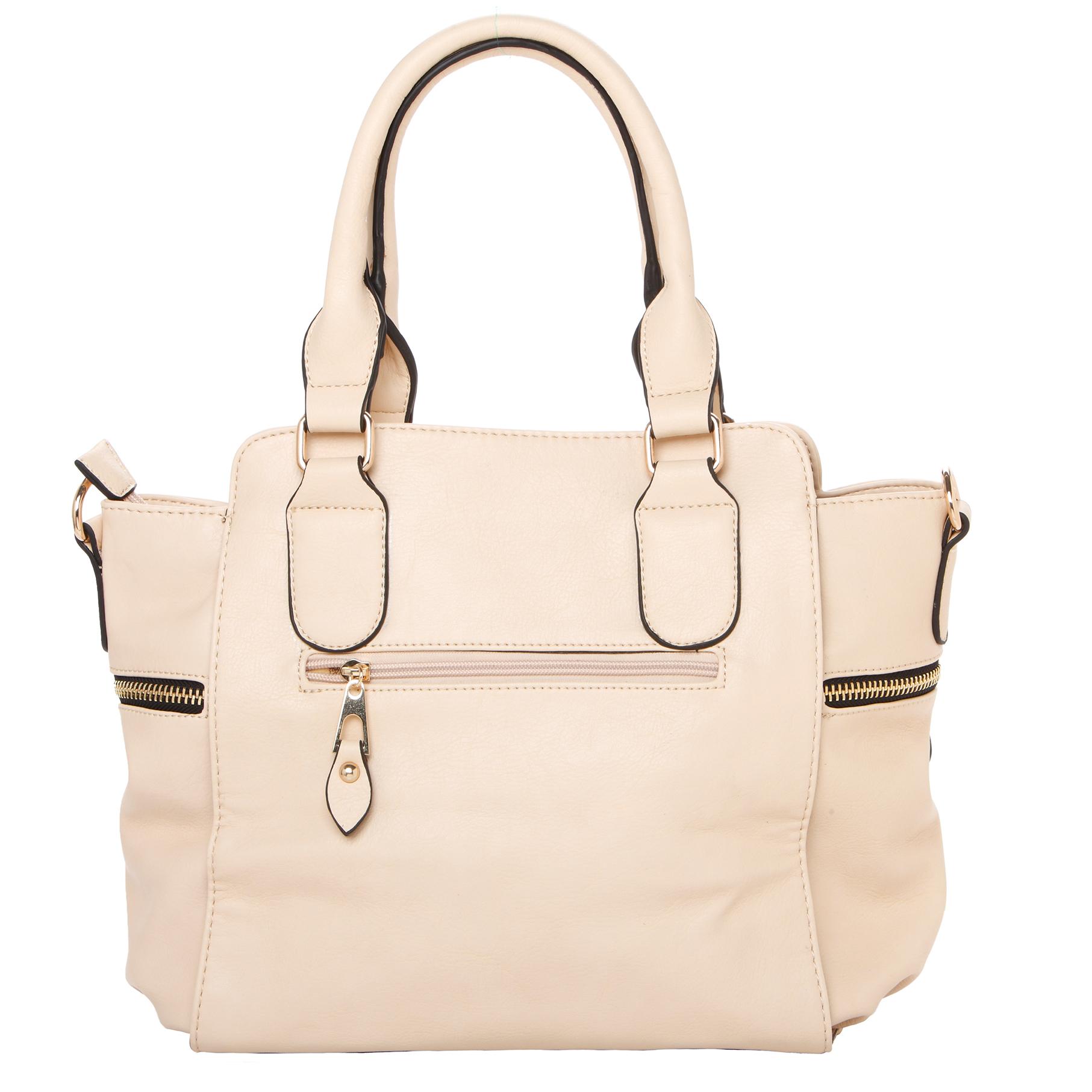 NORI Beige Top Handle Office Tote Style Satchel Handbag back