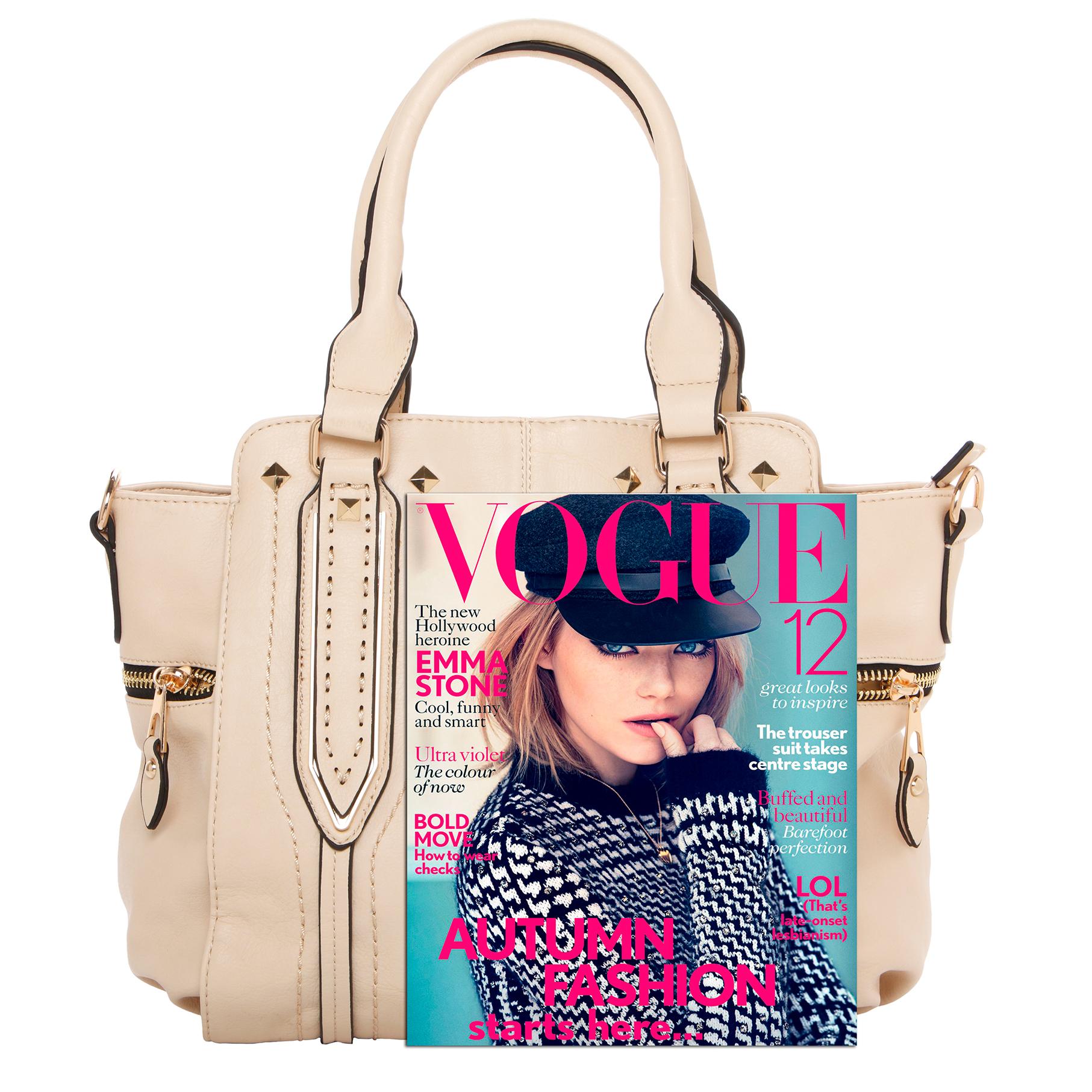 NORI Beige Top Handle Office Tote Style Satchel Handbag size