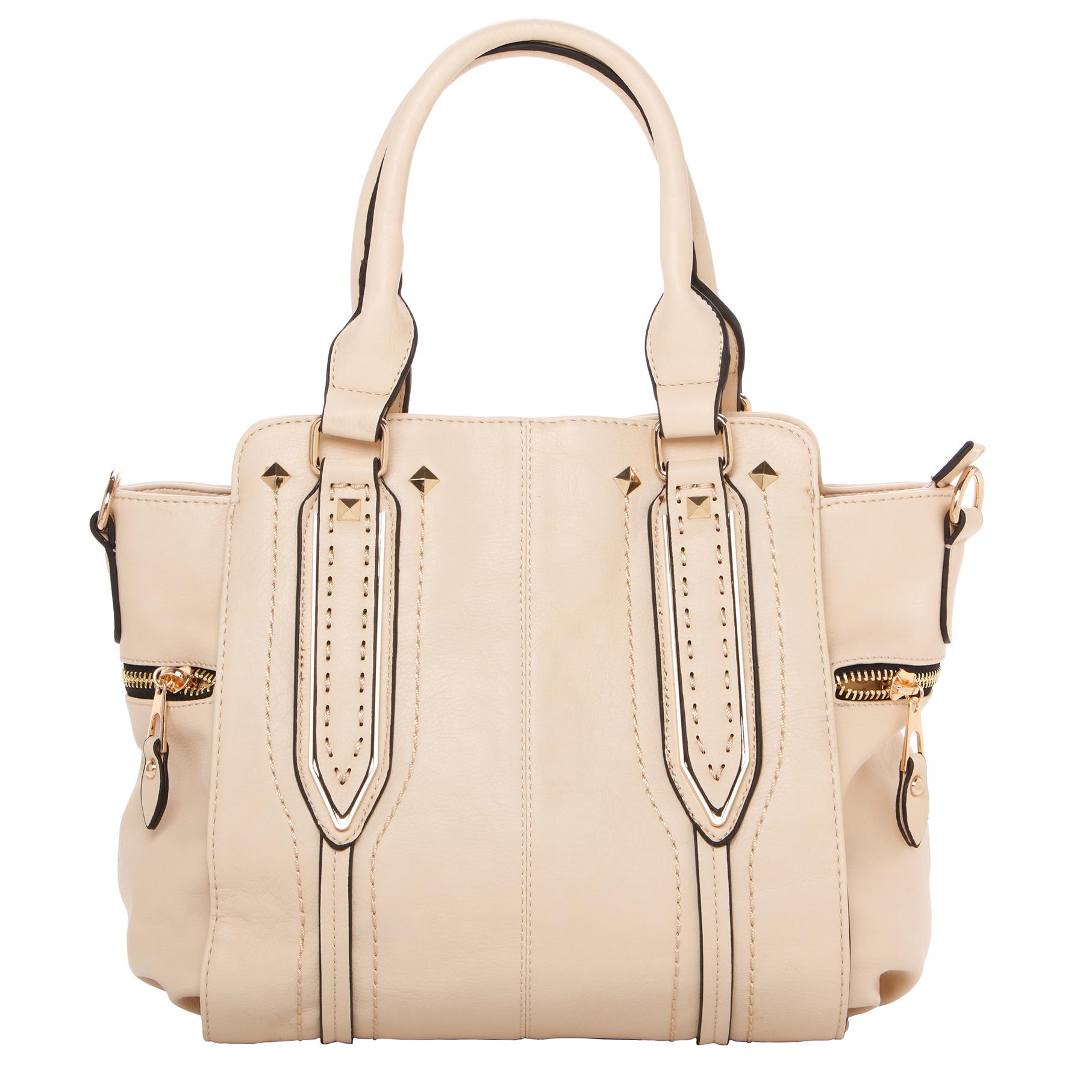 NORI Beige Top Handle Office Tote Style Satchel Handbag front