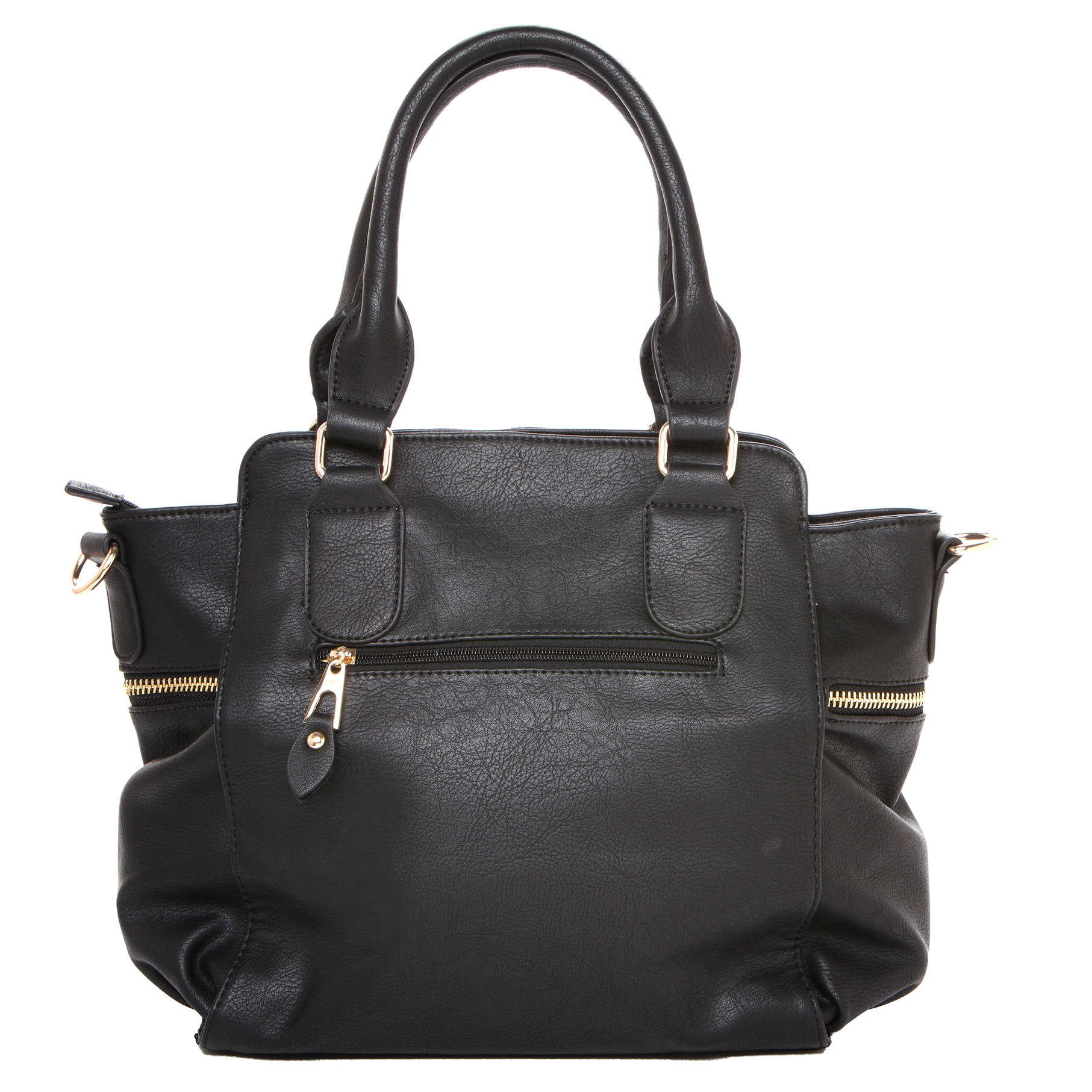 NORI Black Top Handle Office Tote Style Handbag back