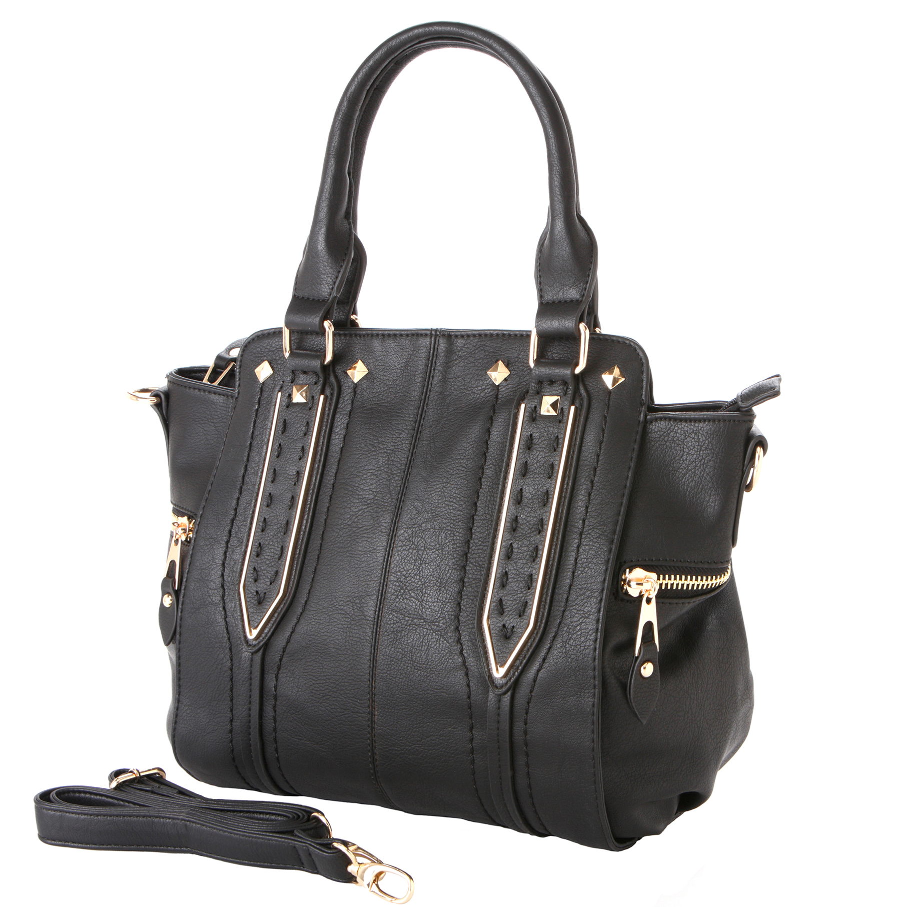 NORI Black Top Handle Office Tote Style Handbag main