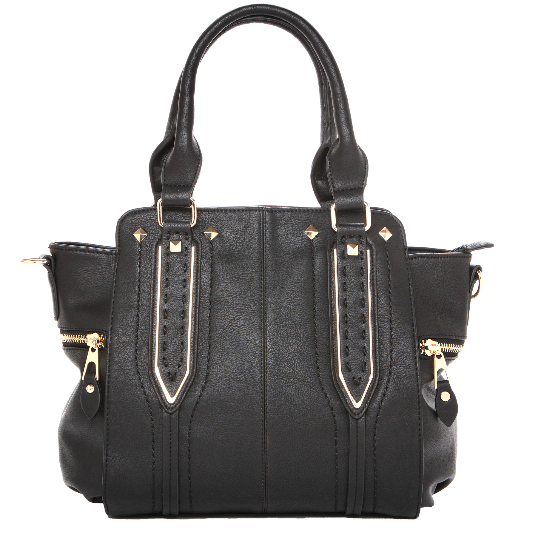 NORI Black Top Handle Office Tote Style Handbag front