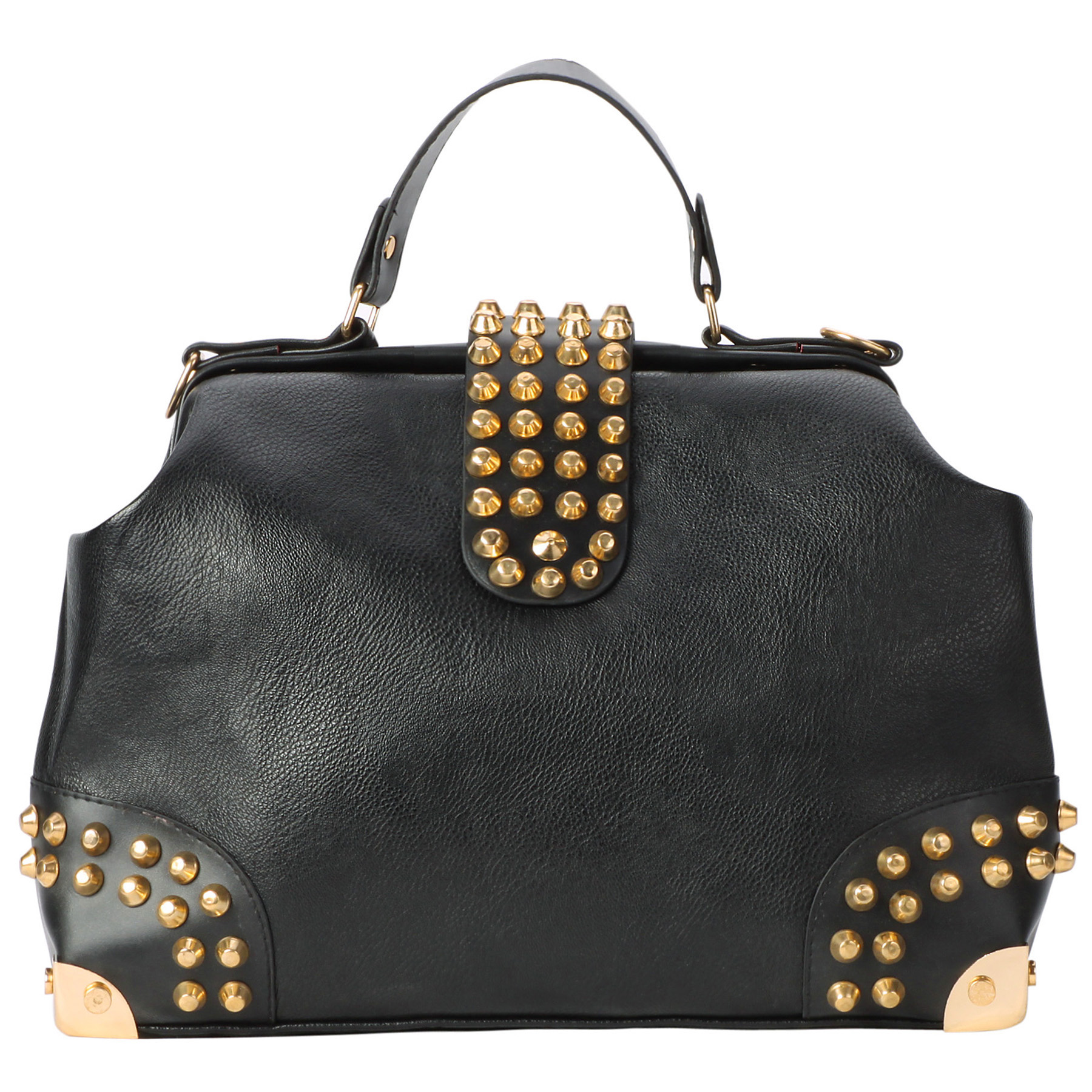 DARKO Black Gothic Gold Studded Doctor Style Office Tote Purse front