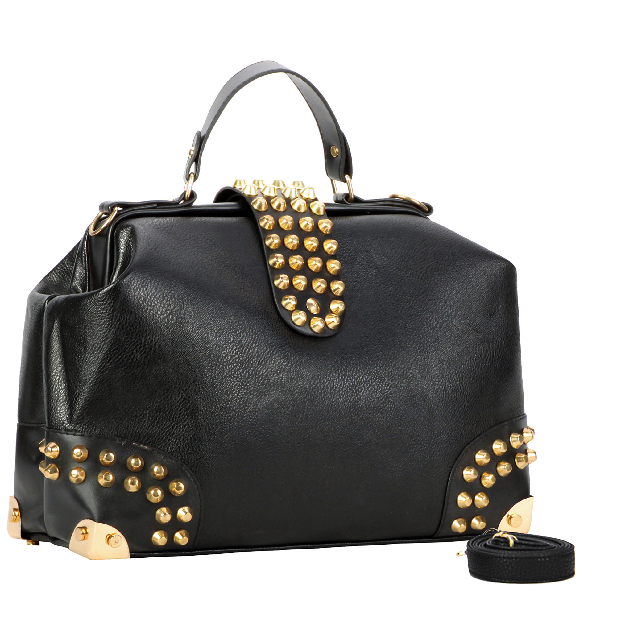 DARKO Black Gothic Gold Studded Doctor Style Office Tote Purse main