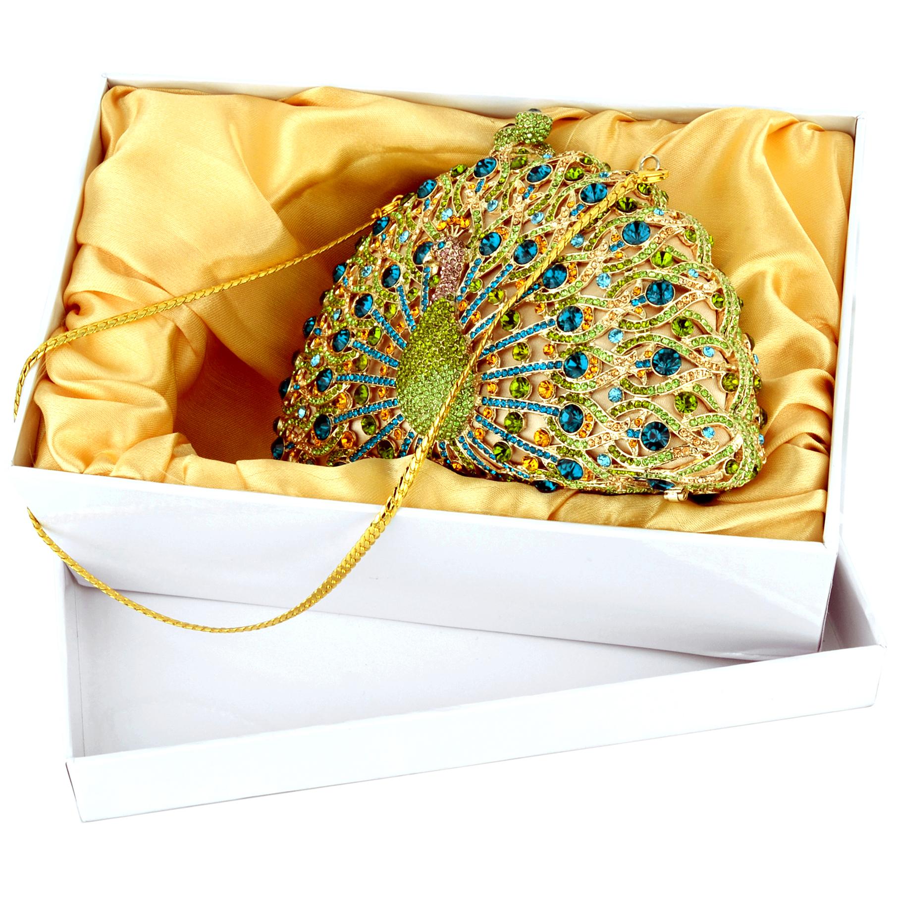 CLARA Green Crystal Peacock Evening Bag in box