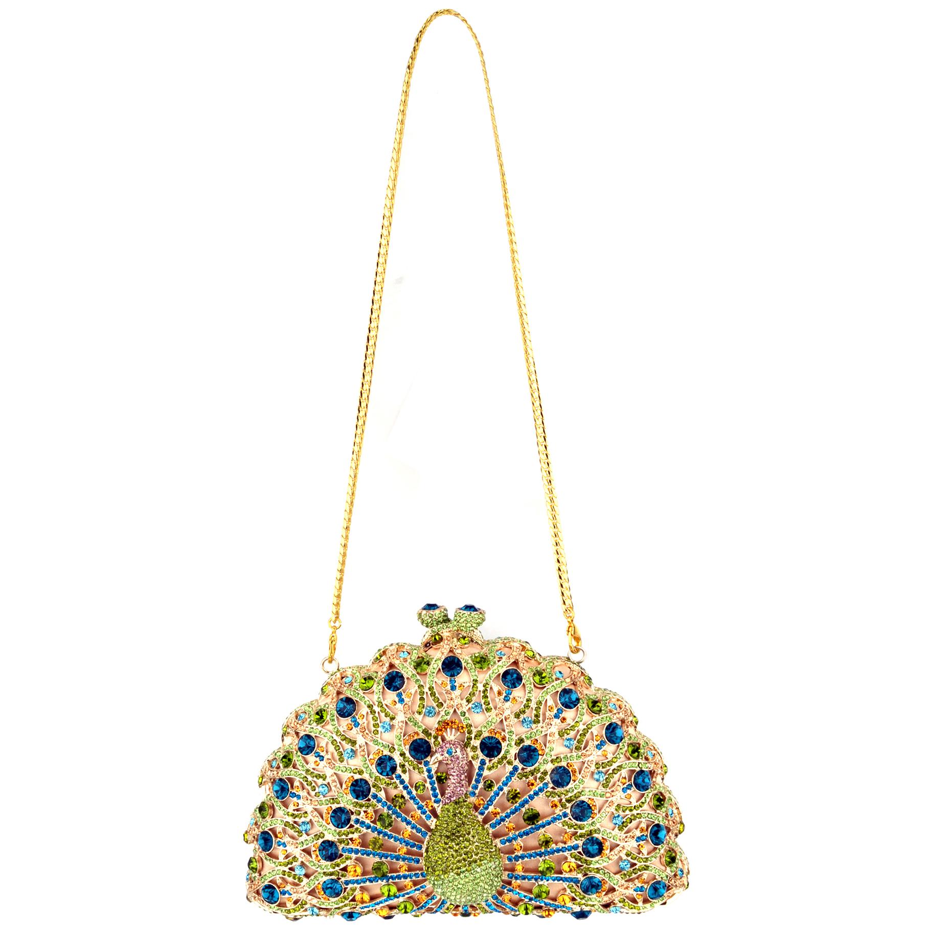 CLARA Green Crystal Peacock Evening Bag strap