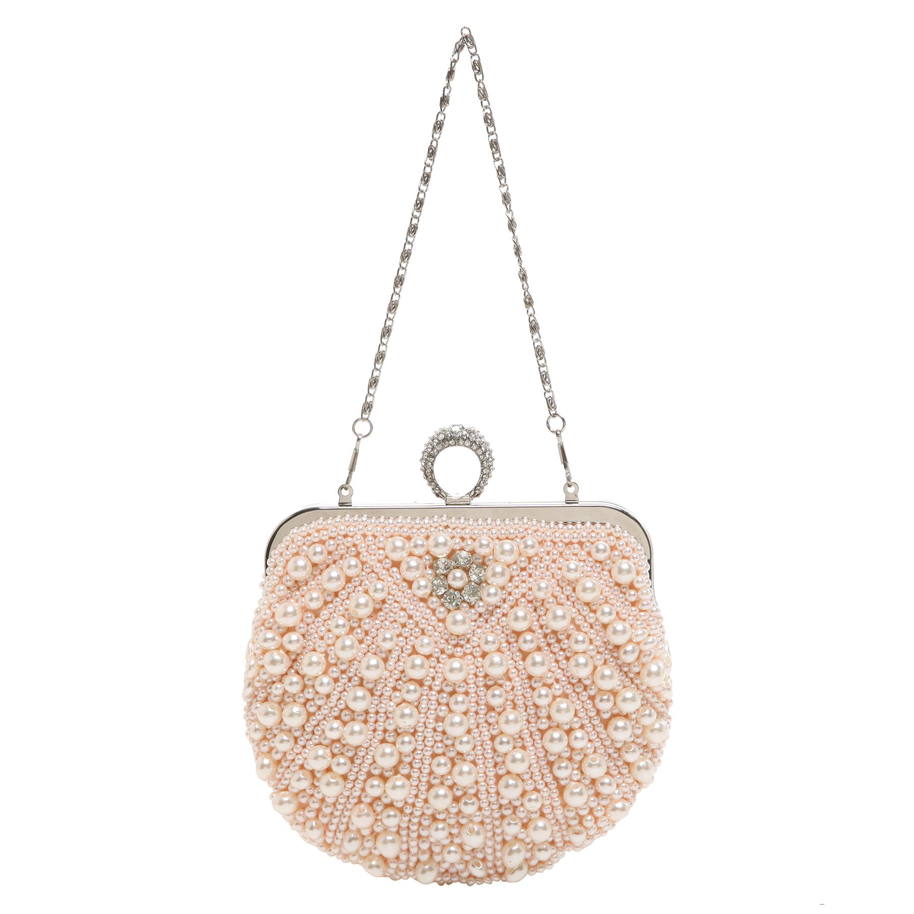 TIANA Champagne Pearl Rhinestone Evening Bag short strap