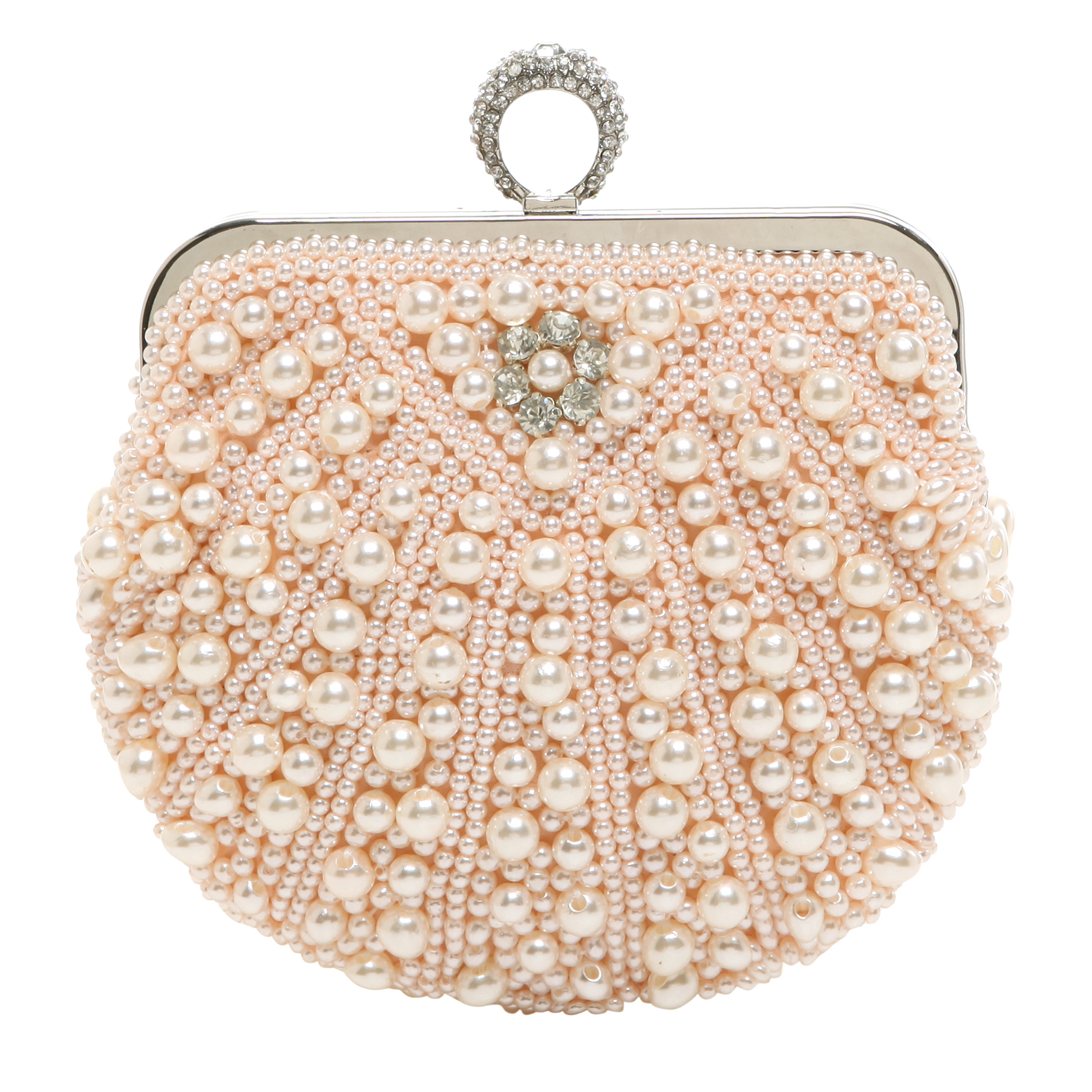 TIANA Champagne Pearl Rhinestone Evening Bag front