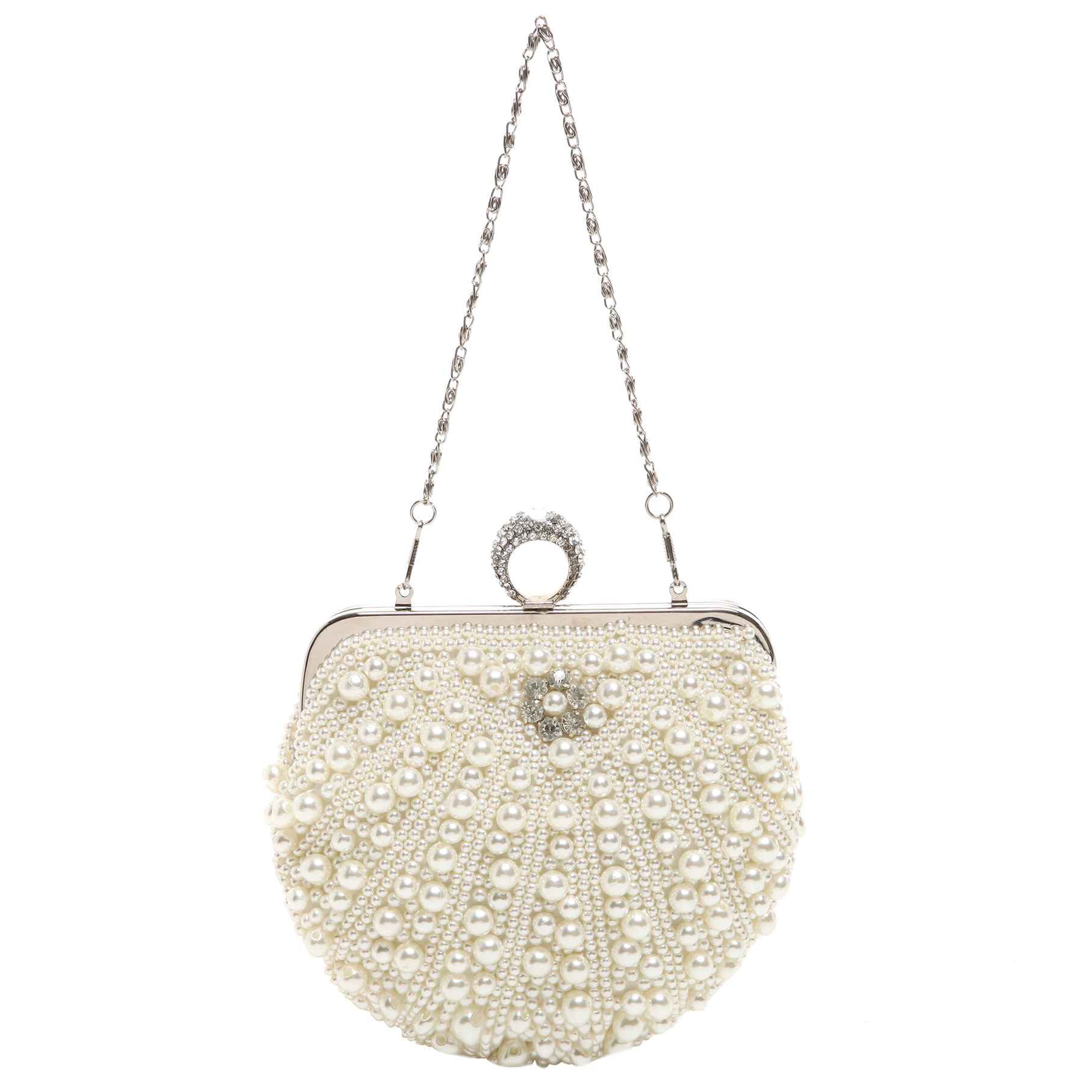 TIANA White Pearl Rhinestone Evening Bag short strap