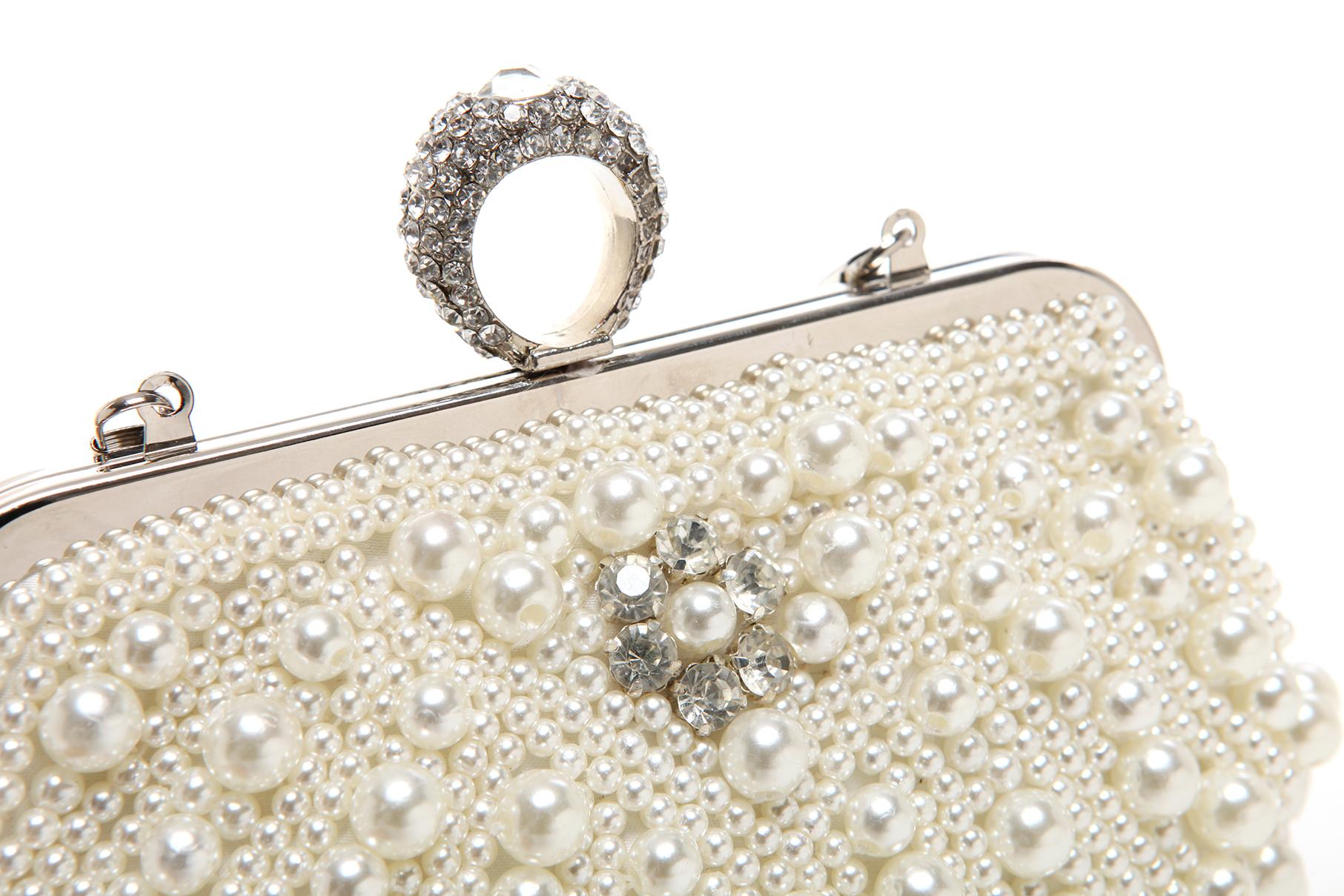TIANA White Pearl Rhinestone Evening Bag clasp Closeup