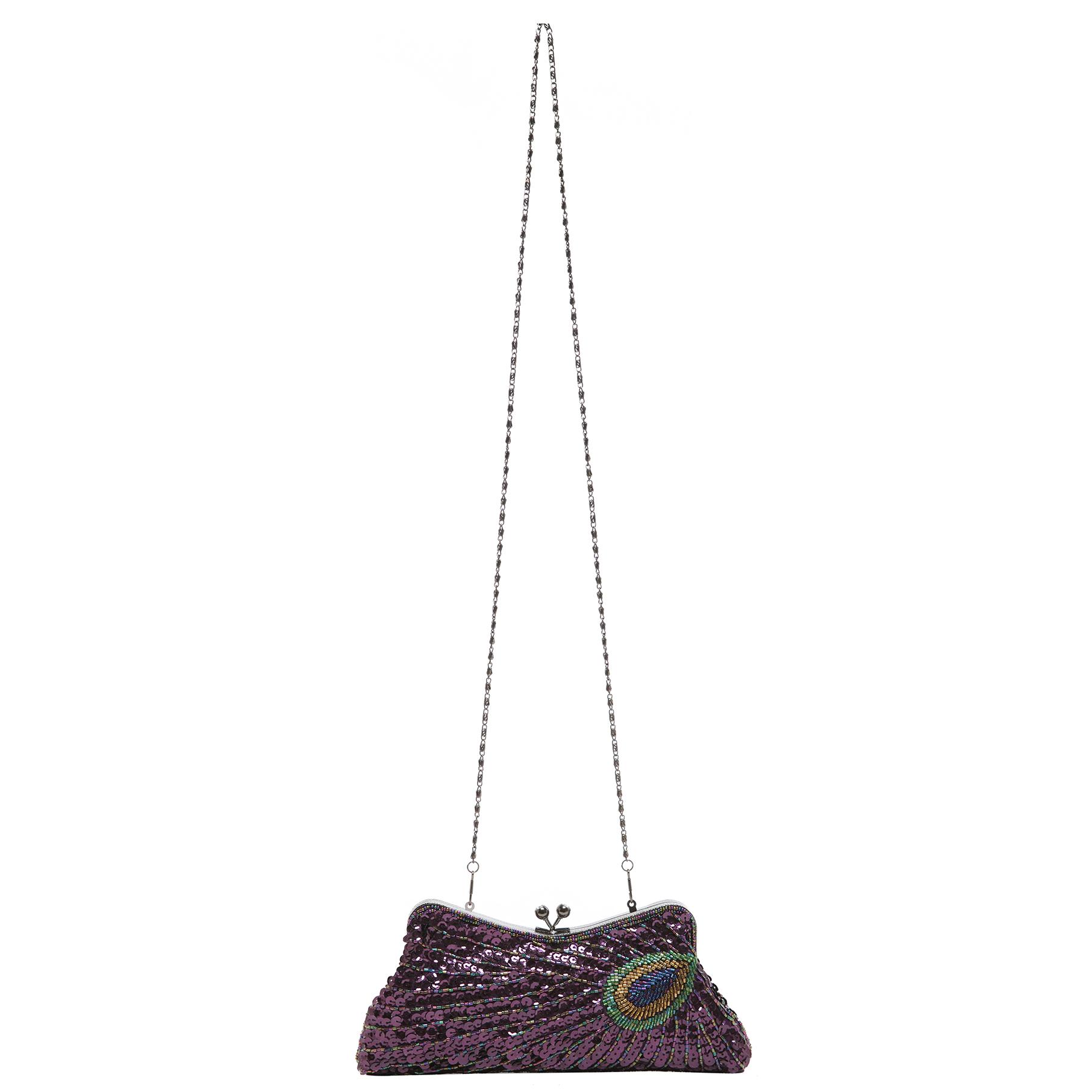 LAUREL Purple Sequined Evening Bag strap