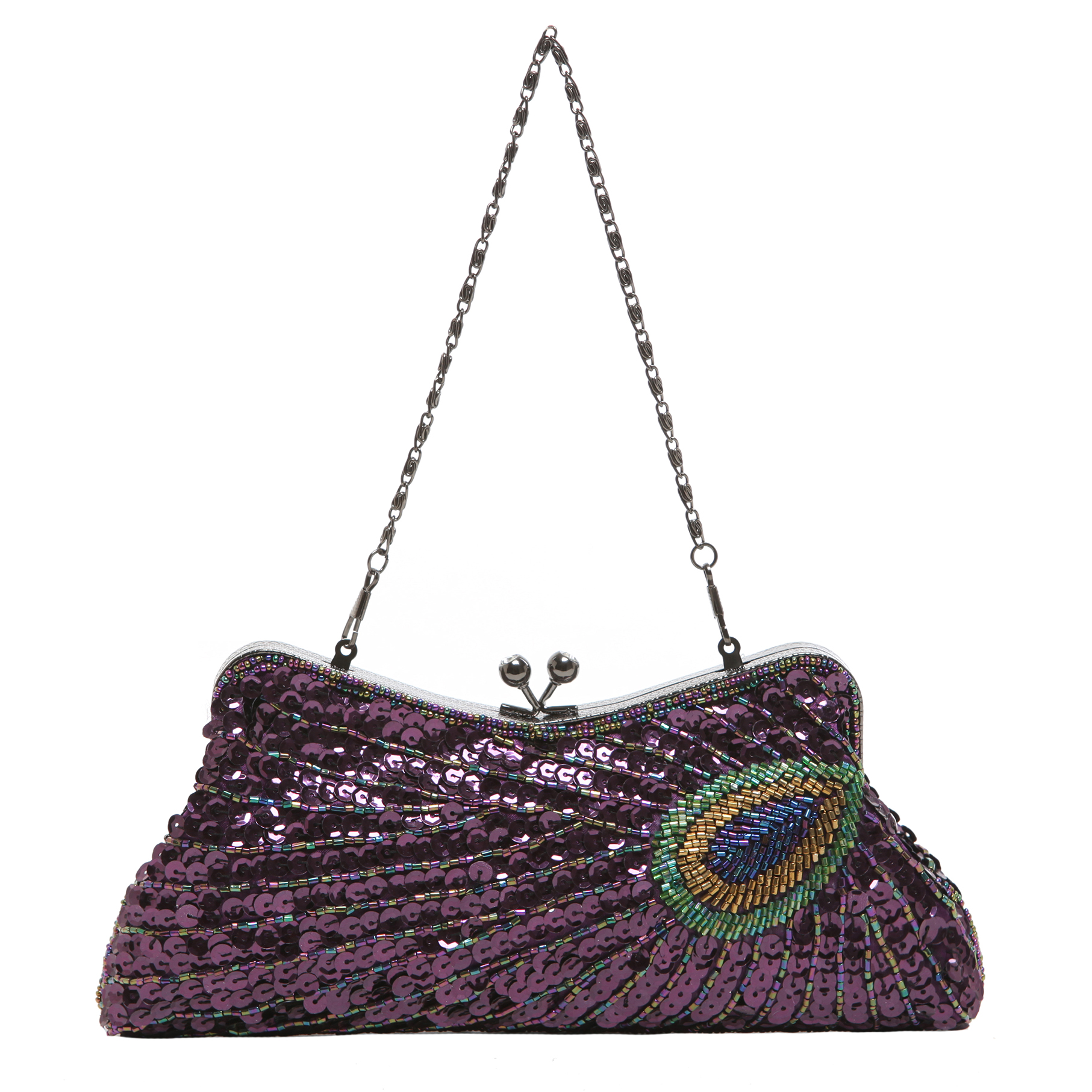 LAUREL Purple Sequined Evening Bag short strap
