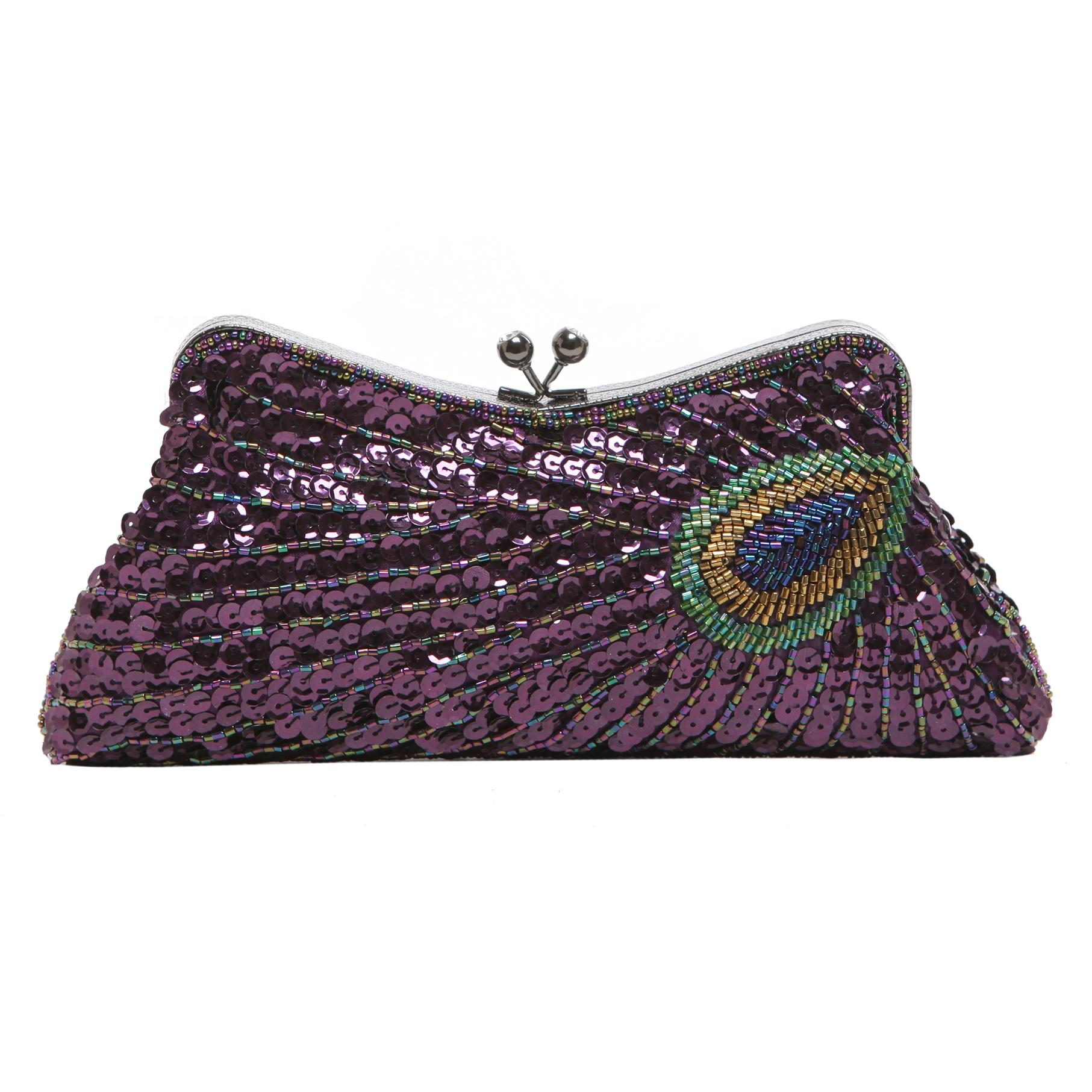 LAUREL Purple Sequined Evening Bag front