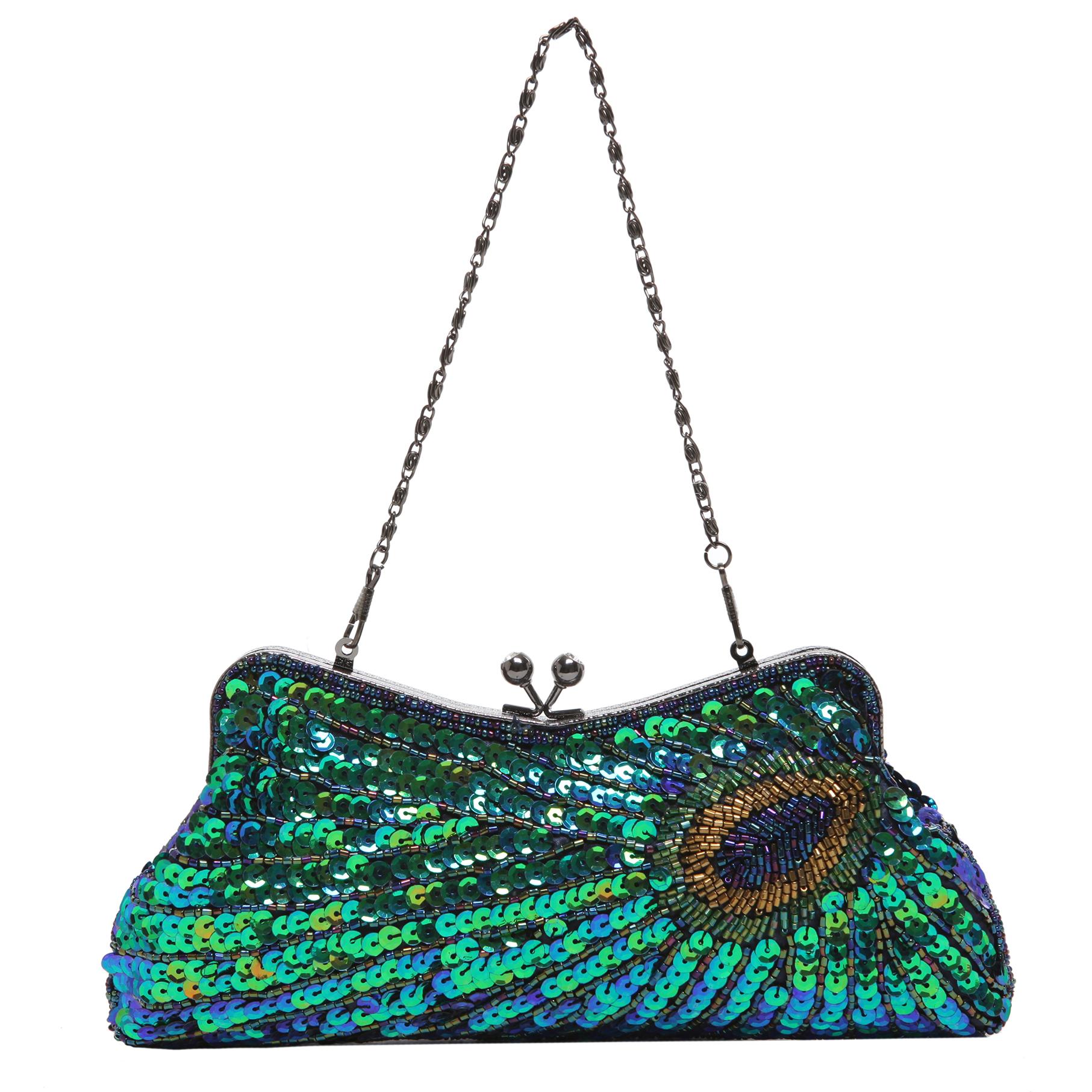 LAUREL Green Sequined Evening Bag short strap