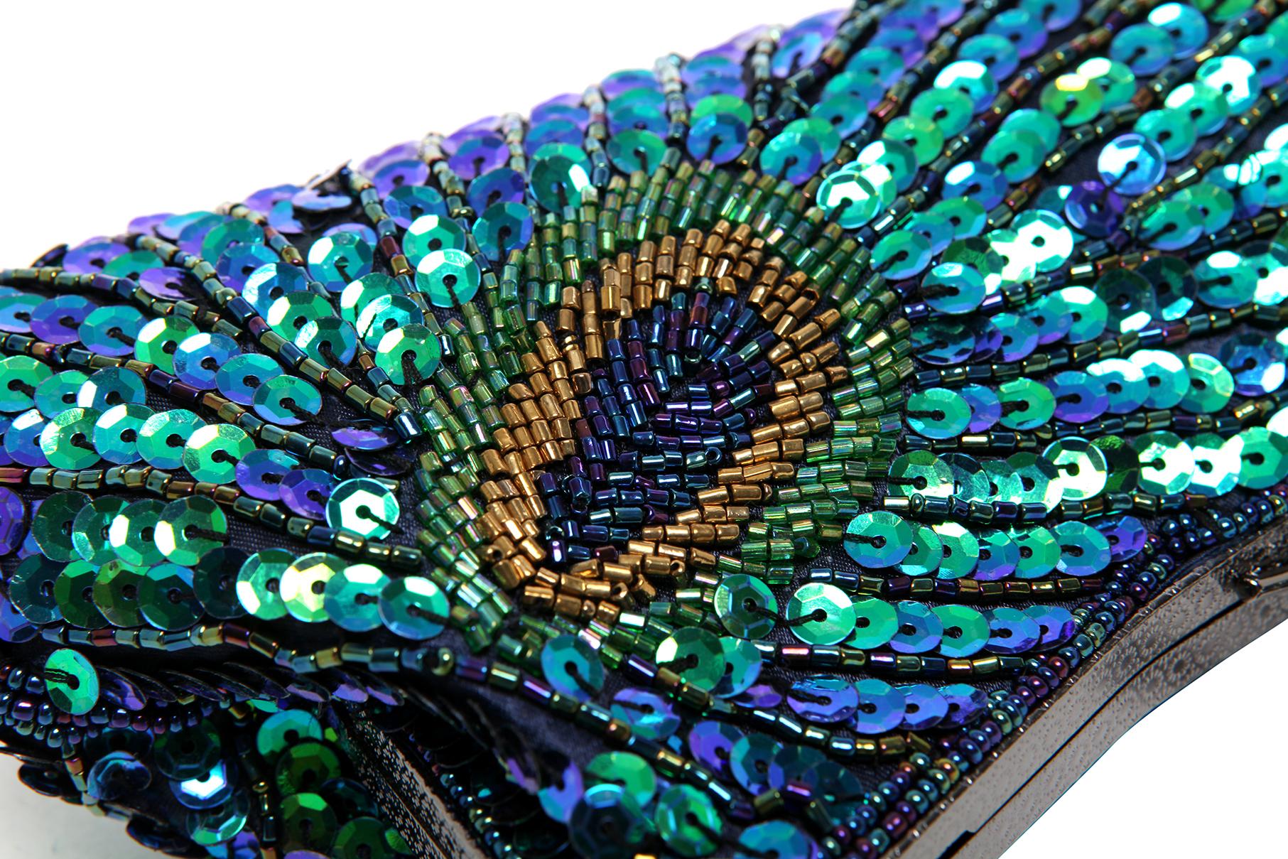 LAUREL Green Sequined Evening Bag Closeup