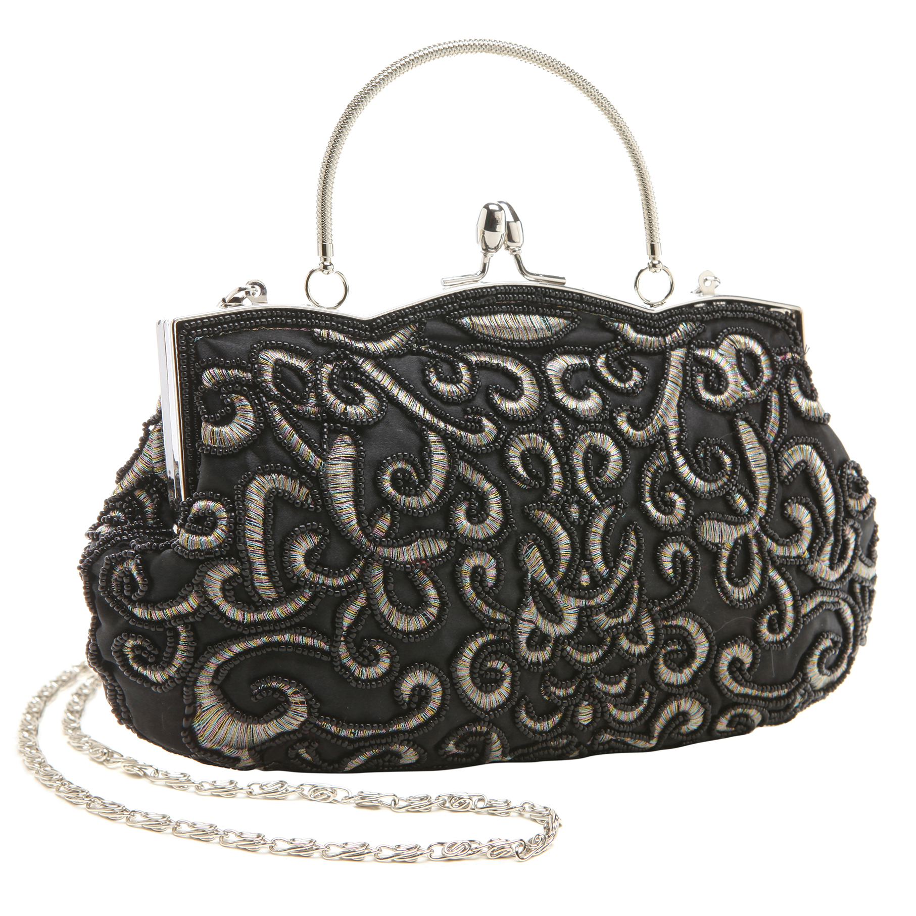 ADELE Black Embroidered Evening Handbag main