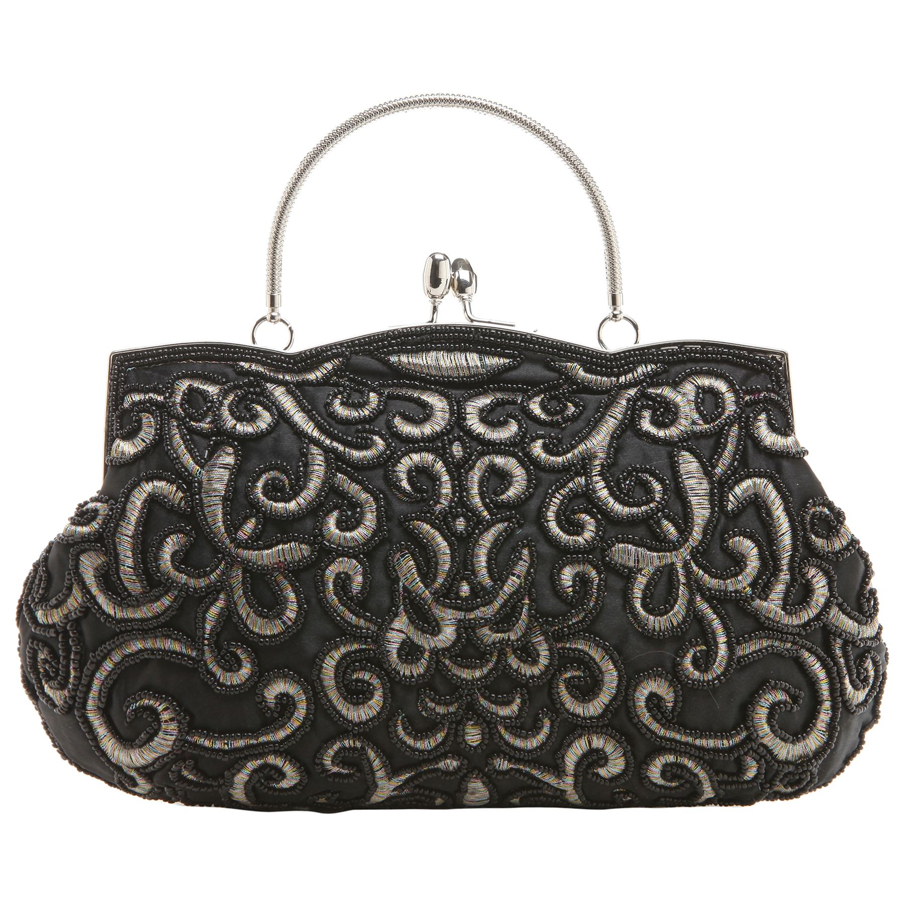 ADELE Black Embroidered Evening Handbag front