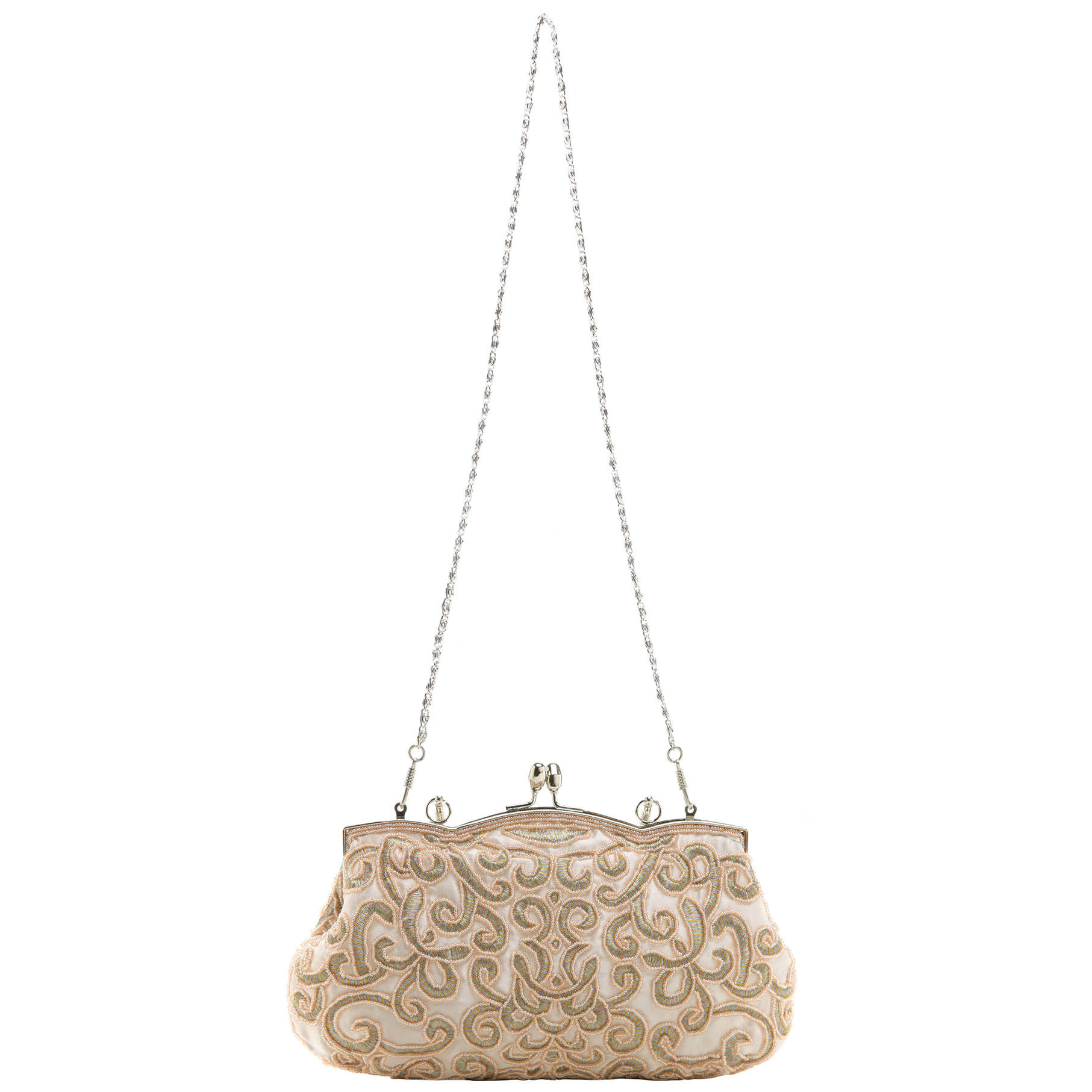 ADELE Champagne Embroidered Evening Handbag long shoulder strap
