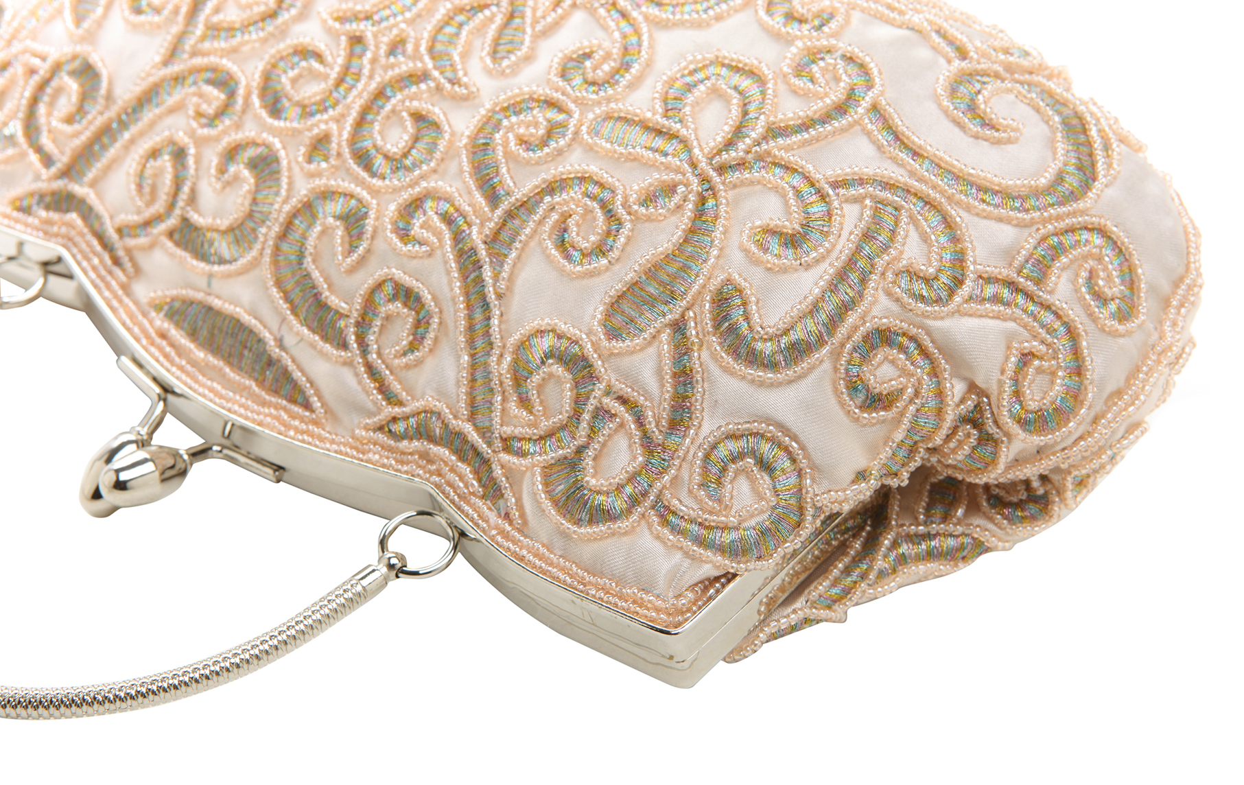 ADELE Champagne Embroidered Evening Handbag closeup