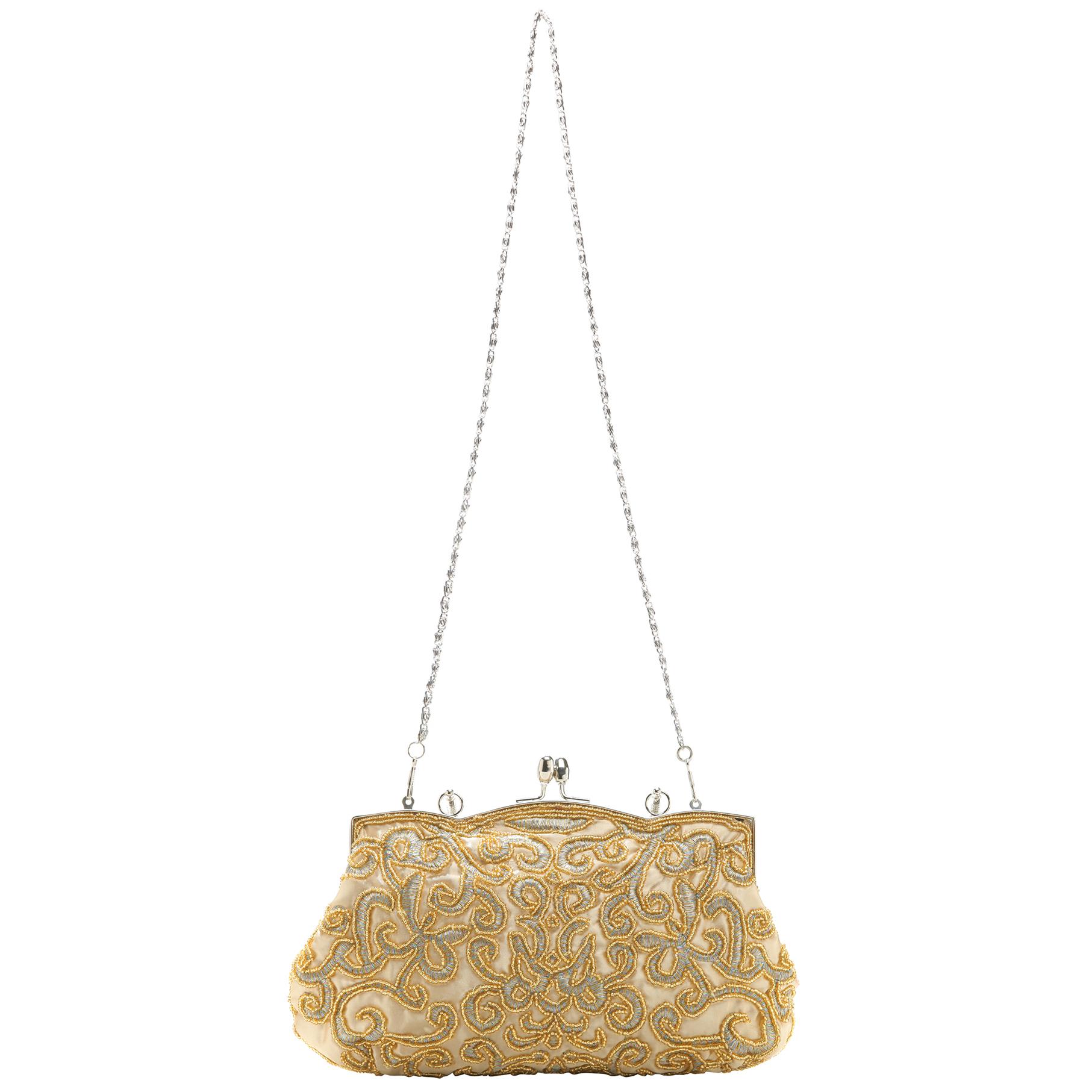 ADELE Gold Embroidered Evening Handbag long strap
