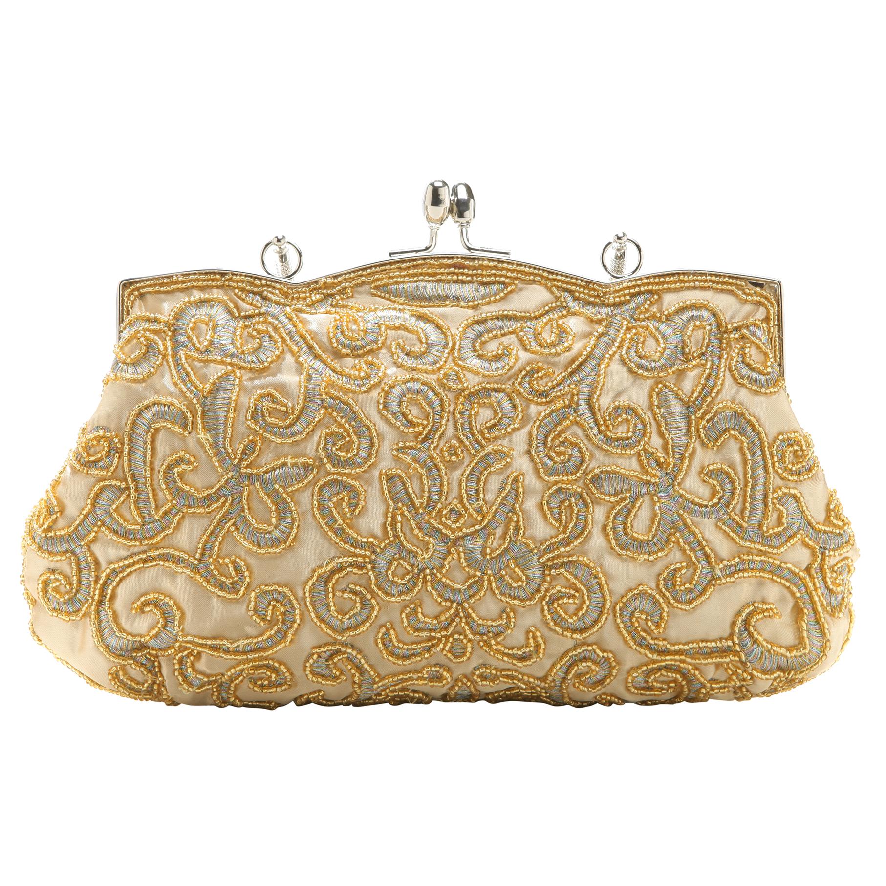 ADELE Gold Embroidered Evening Handbag back