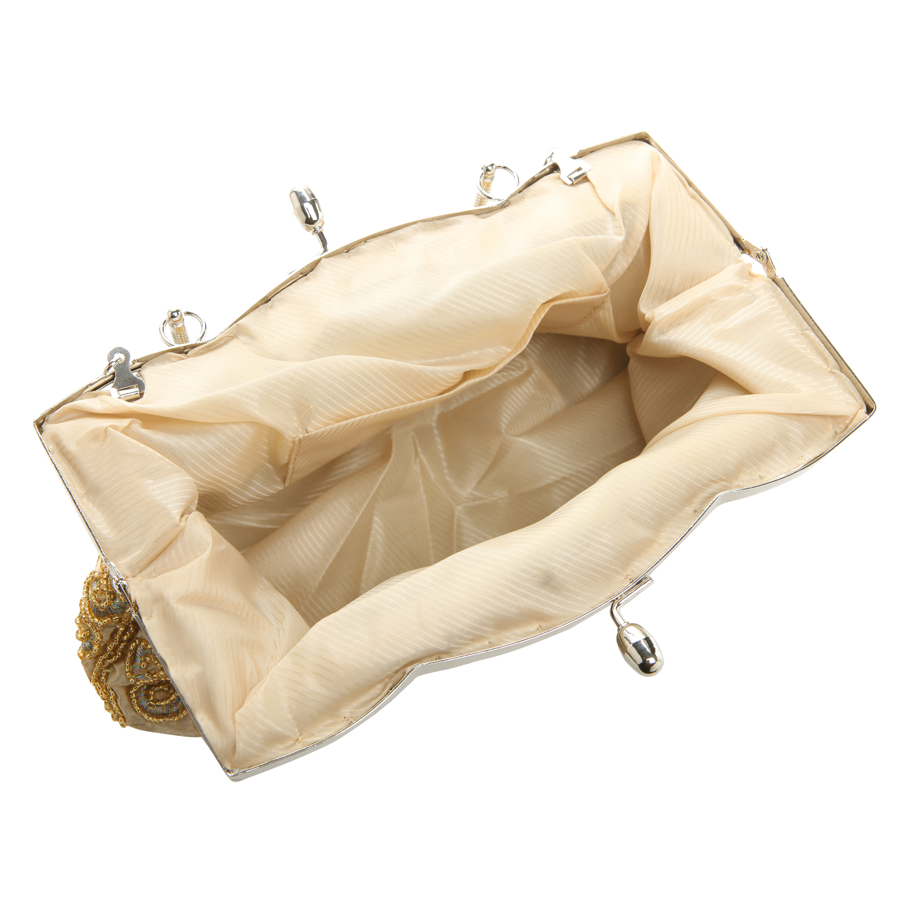 ADELE Gold Embroidered Evening Handbag interior