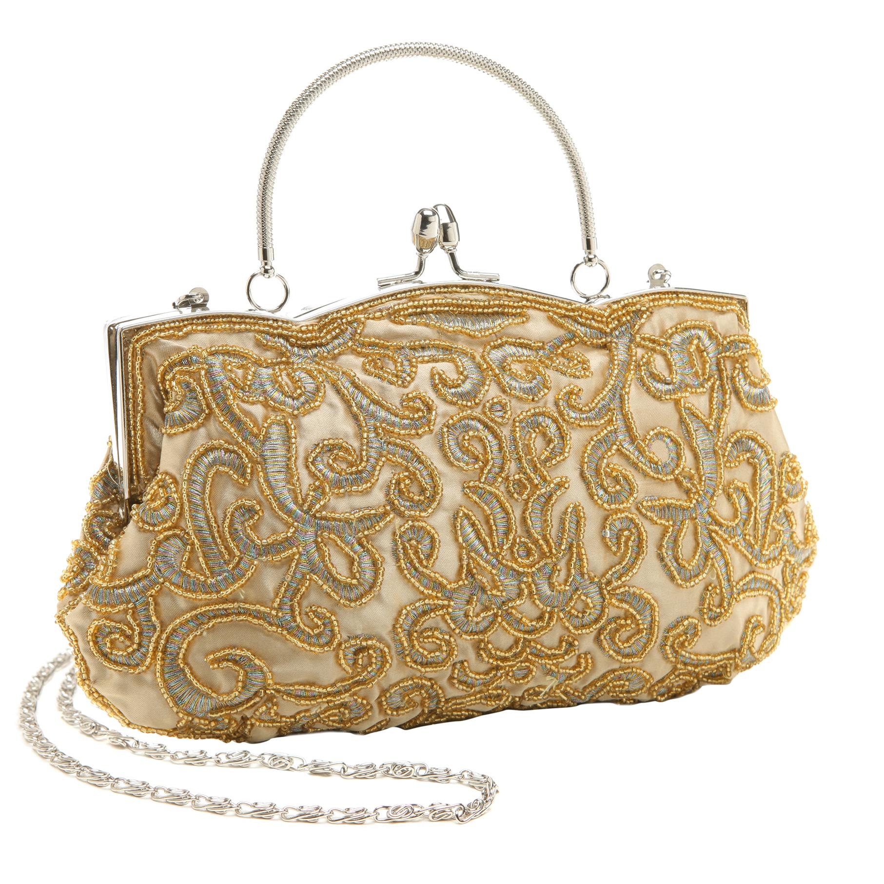 ADELE Gold Embroidered Evening Handbag main
