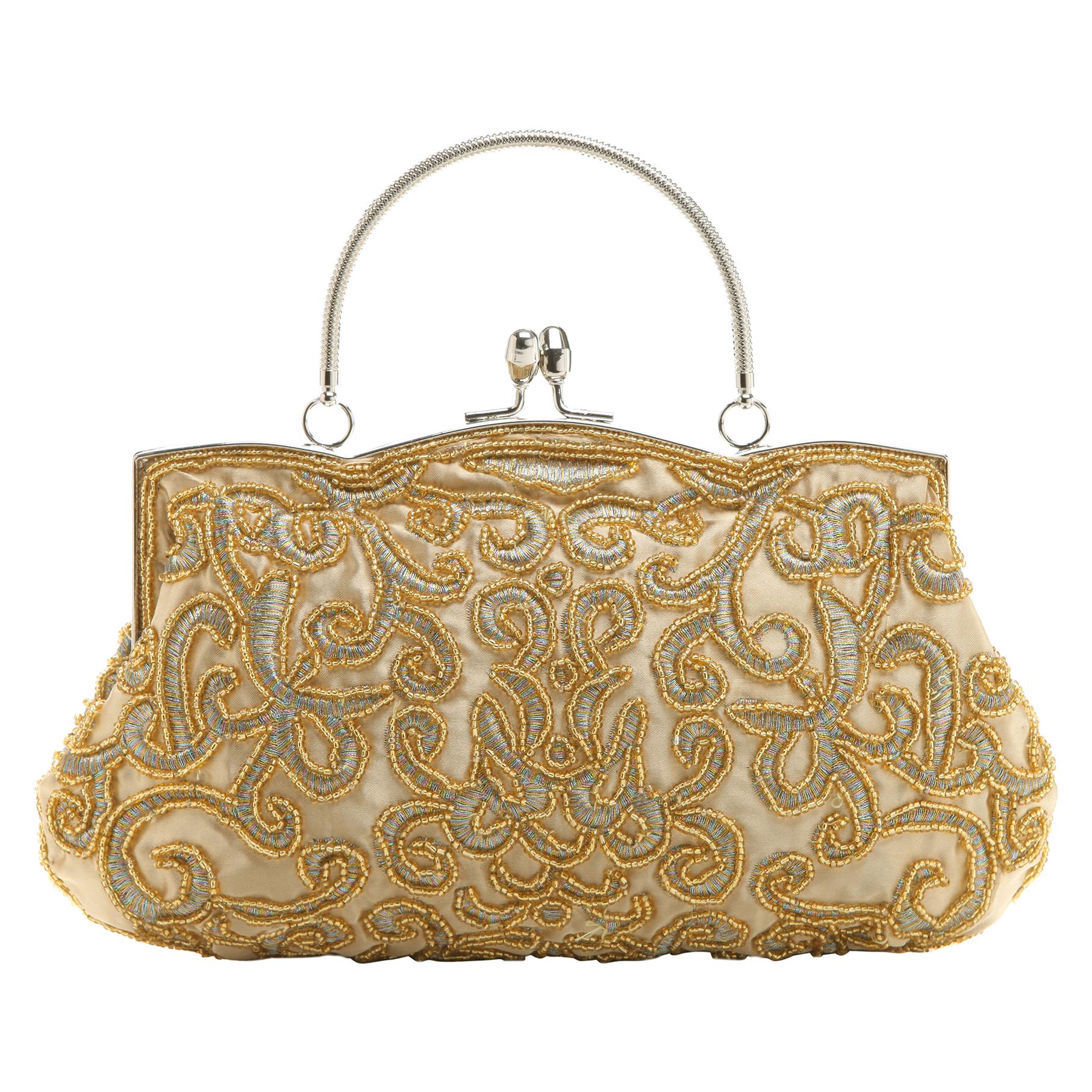 ADELE Gold Embroidered Evening Handbag front